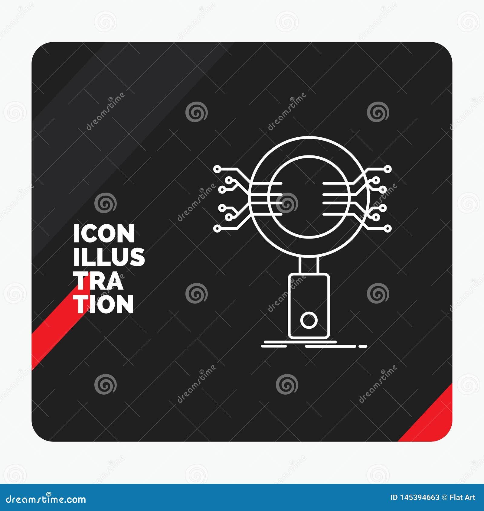 Czerwony i Czarny Kreatywnie prezentacji tło dla analizy, rewizja, informacja, badanie, ochrony Kreskowa ikona