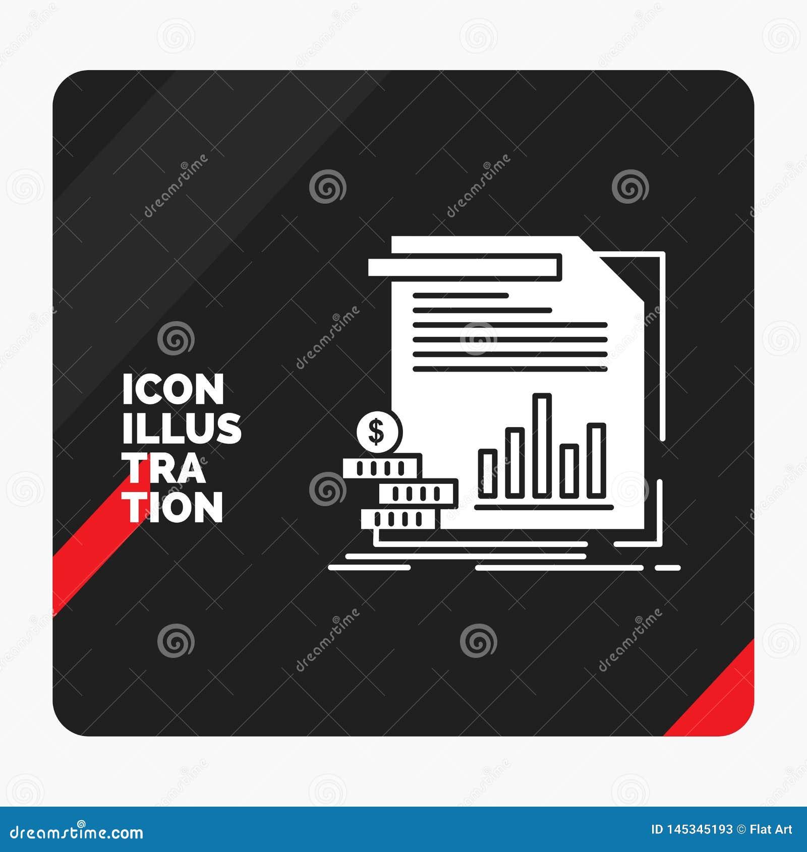 Czerwony i Czarny Kreatywnie prezentacji tło dla gospodarki, finanse, pieniądze, informacja, donosi glif ikonę