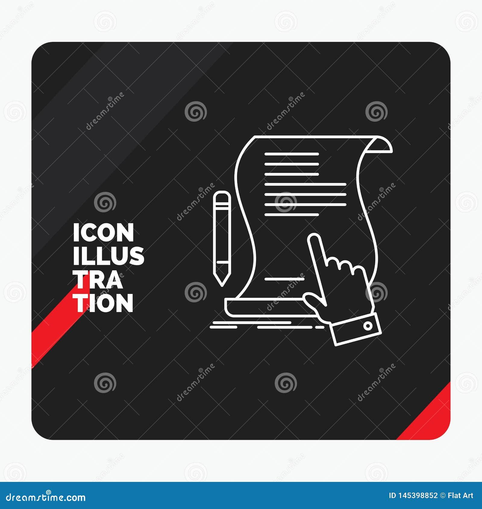 Czerwony i Czarny Kreatywnie prezentacji tło dla kontrakta, dokument, papier, znak, zgoda, zastosowanie Kreskowa ikona
