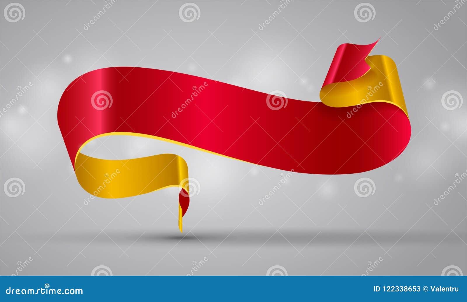 Czerwony i złocisty faborek lub sztandar