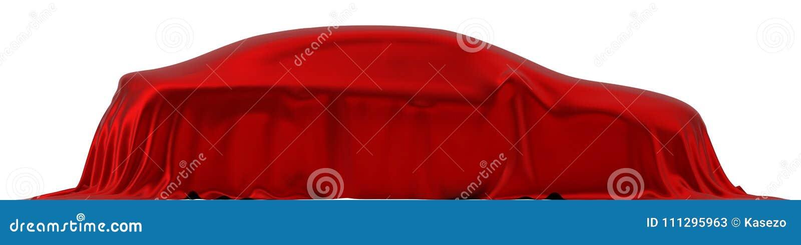Czerwony jedwab zakrywający samochodowy pojęcie 3d ilustracja, boczny widok