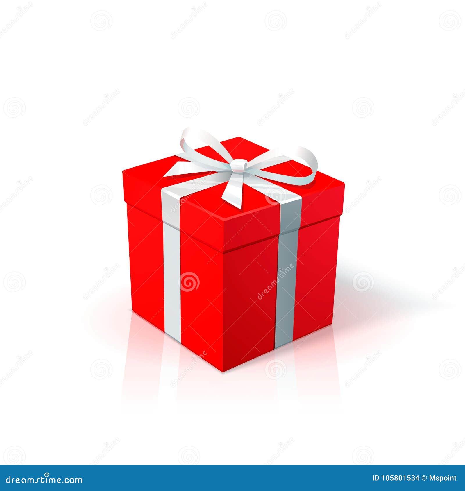 Czerwony karton z białym łękiem i faborkiem Prezenta pudełko na z białym tłem Wszystkiego najlepszego z okazji urodzin bożych nar
