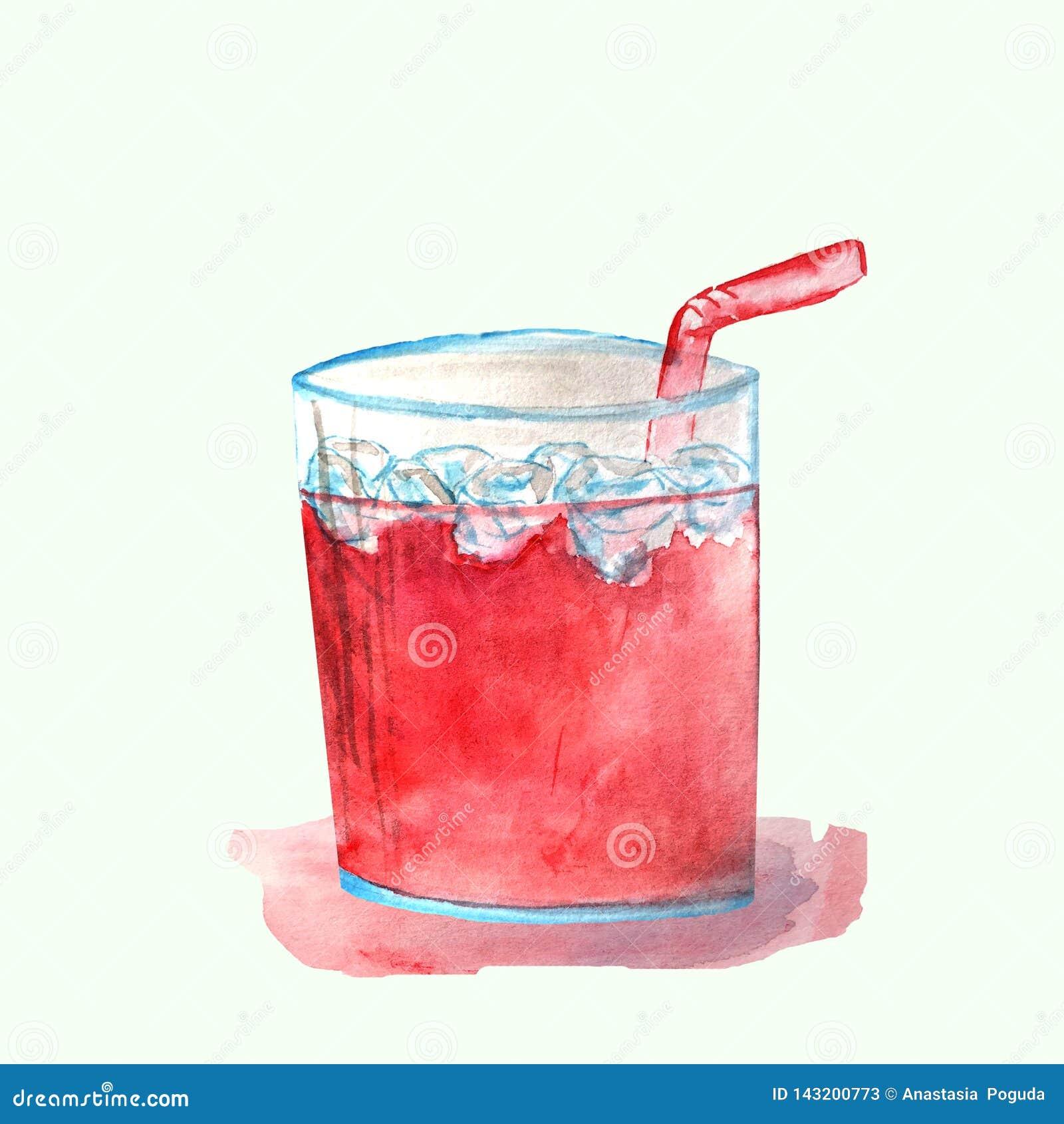 Czerwony koktajl w szkle z lodem