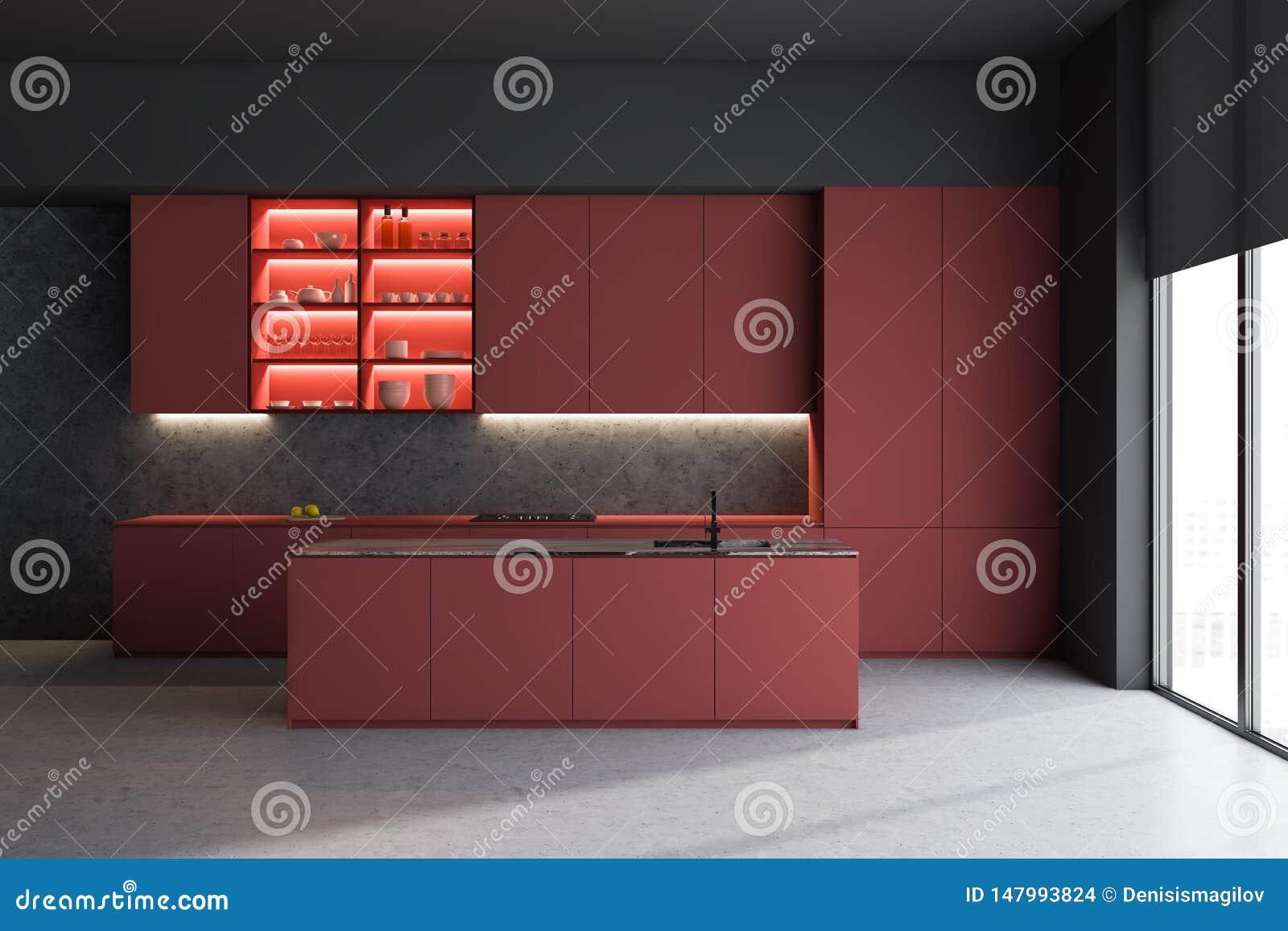 Czerwony kuchenny wnętrze z wyspą