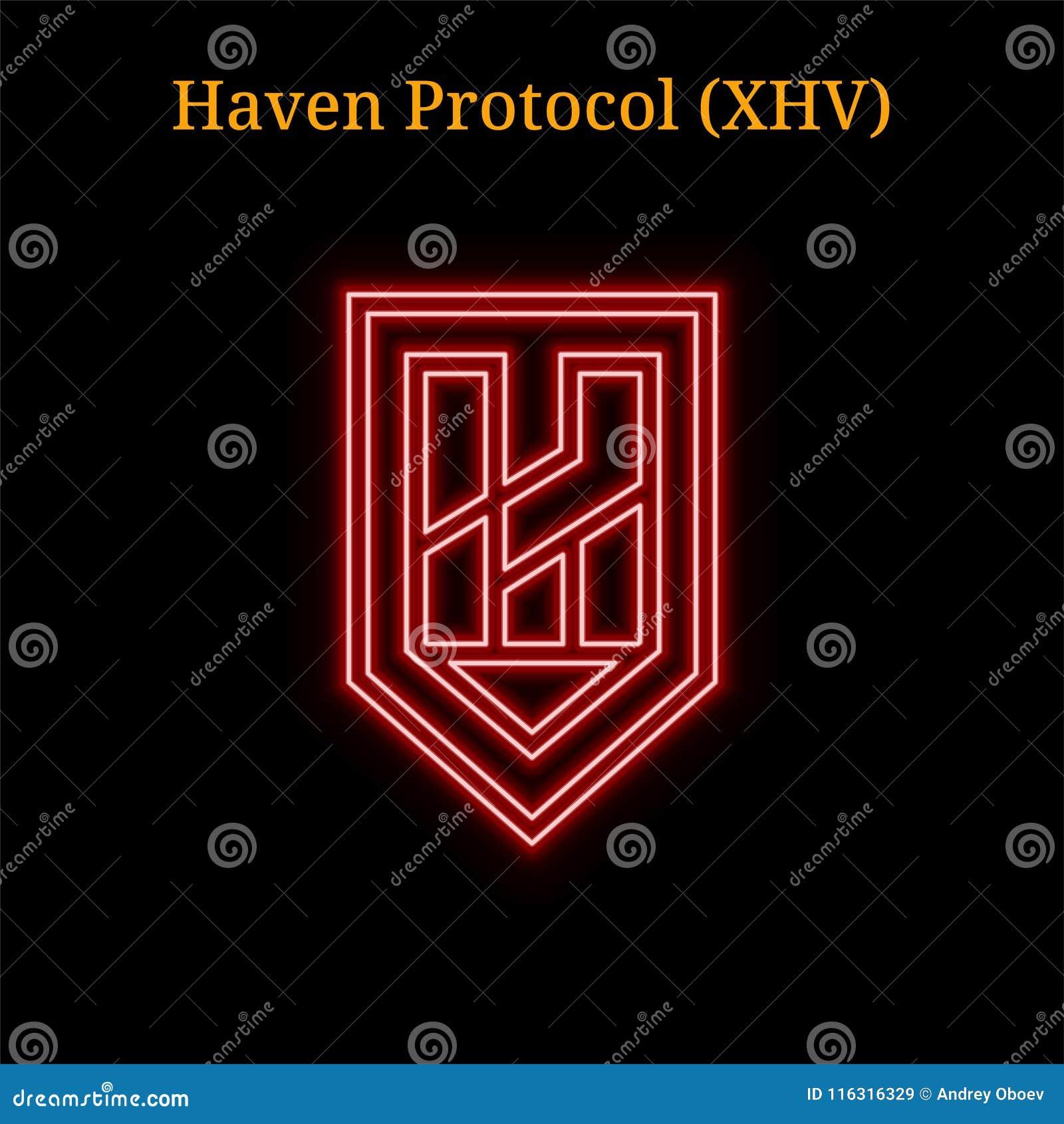 Czerwony neonowy przystań protokołu XHV cryptocurrency symbol
