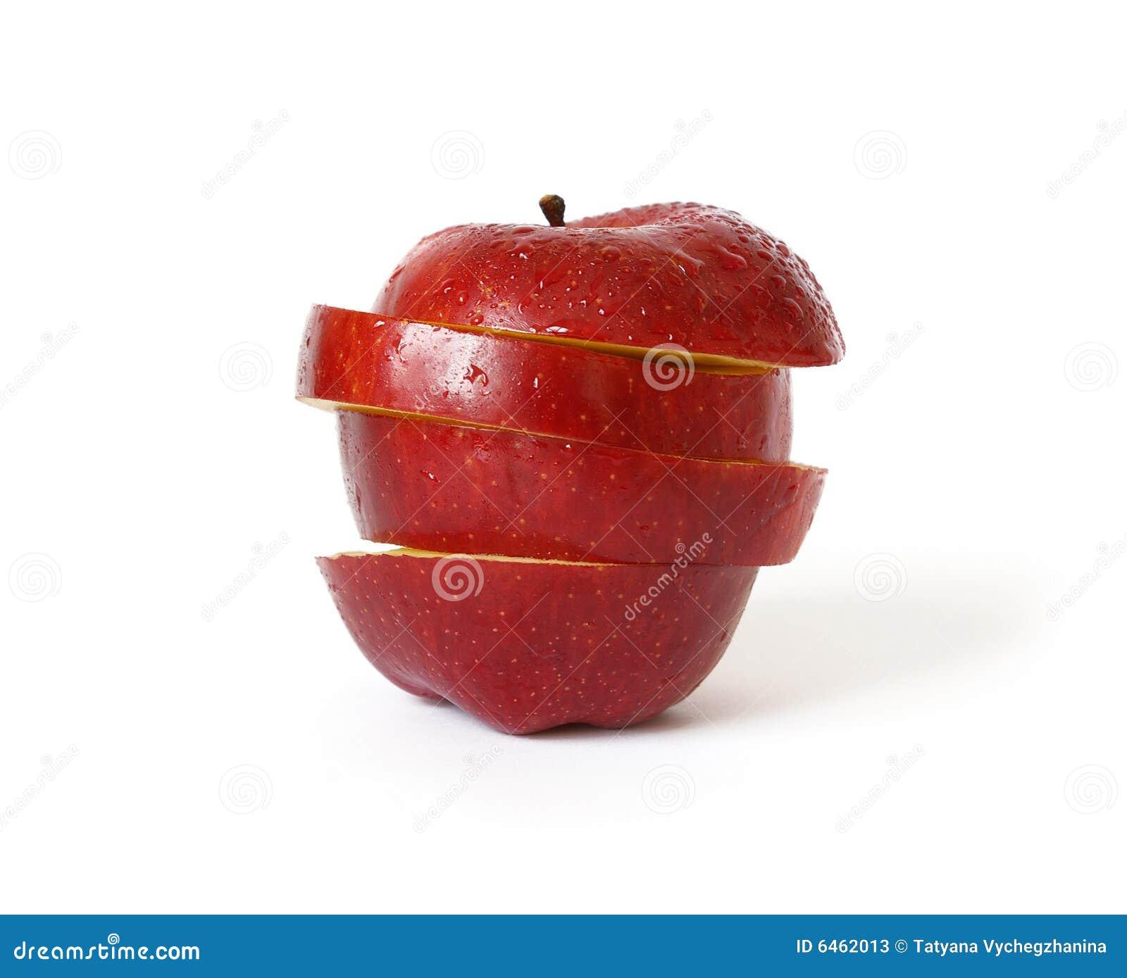 Czerwony odosobnione dojrzałe jabłko white