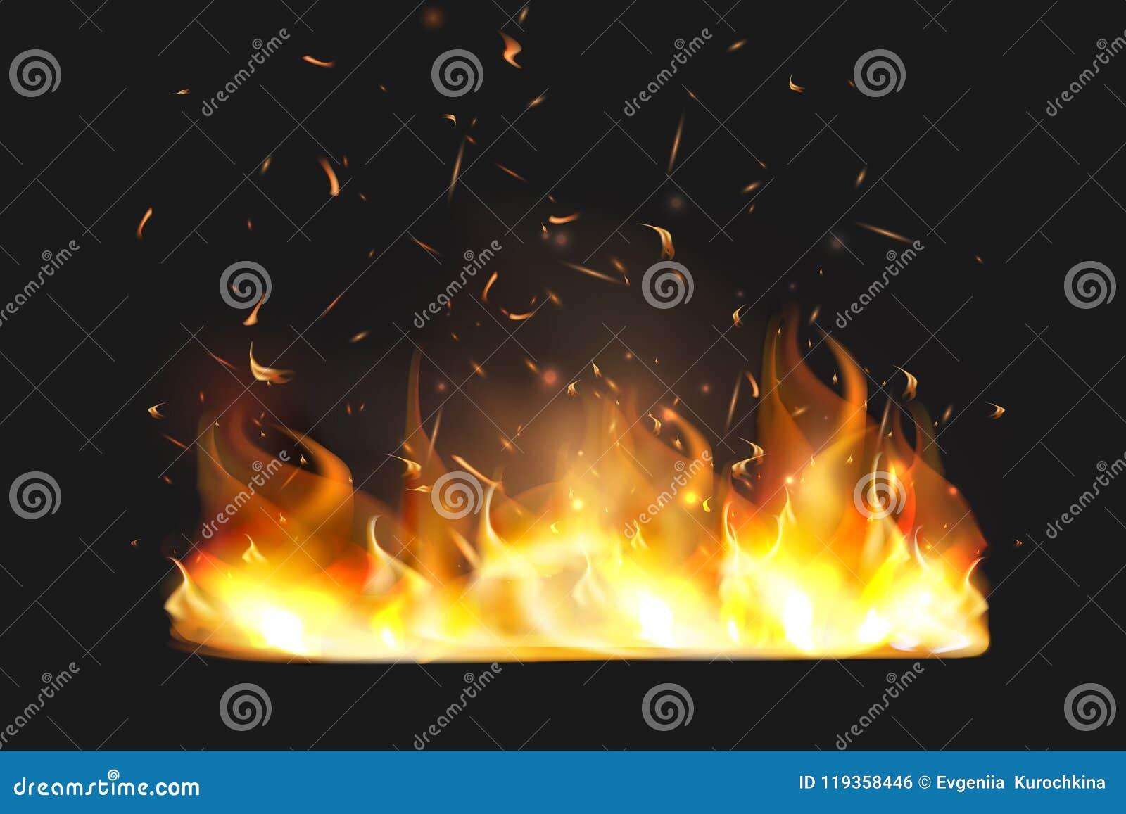 Czerwony ogień iskrzy wektorowego latanie up Płonące rozjarzone cząsteczki Płomień ogień z iskrami w powietrzu nad ciemną nocą
