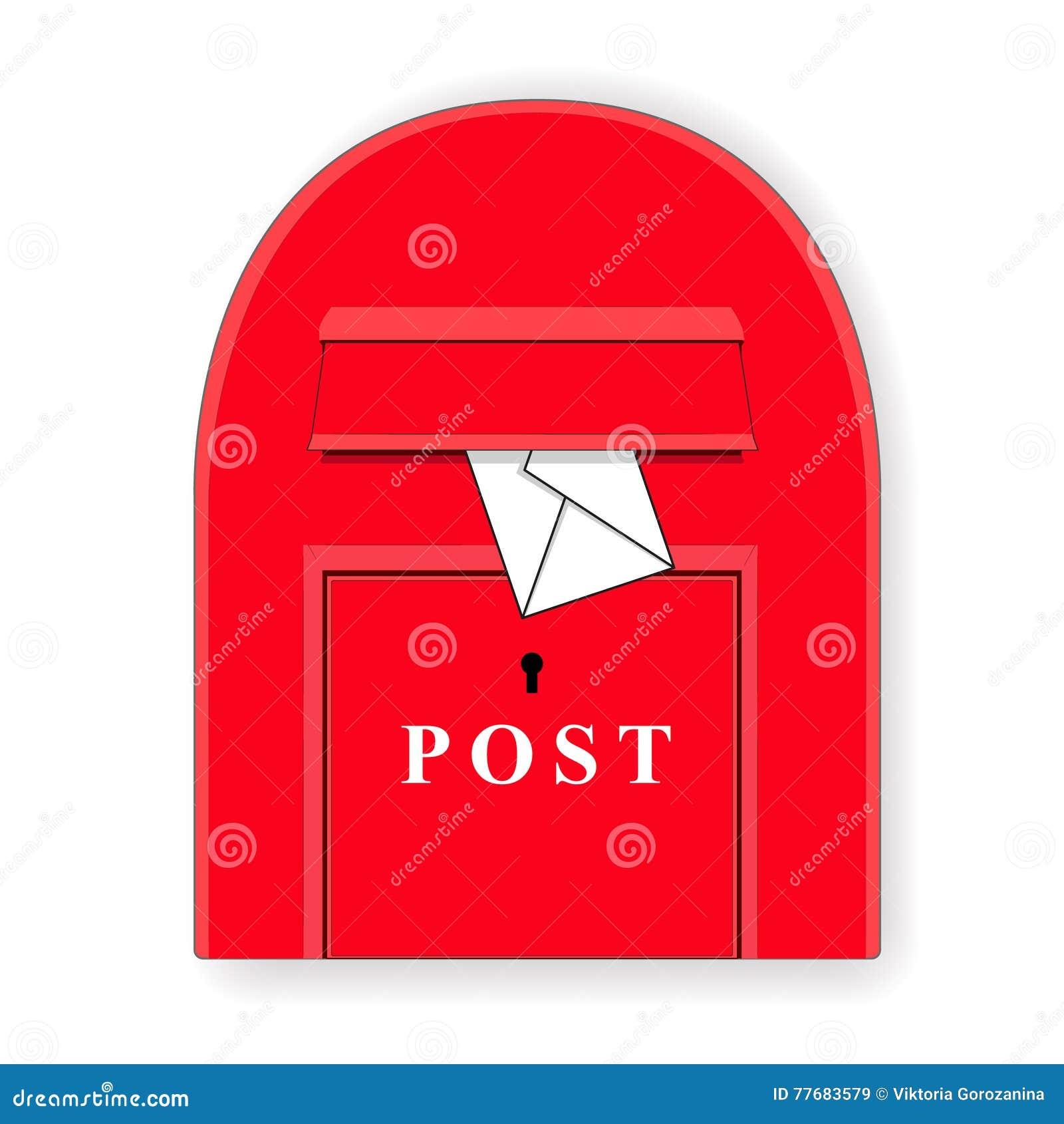 Czerwony poczta pudełko z listem mailbox Listowego pudełka ilustracja wektor