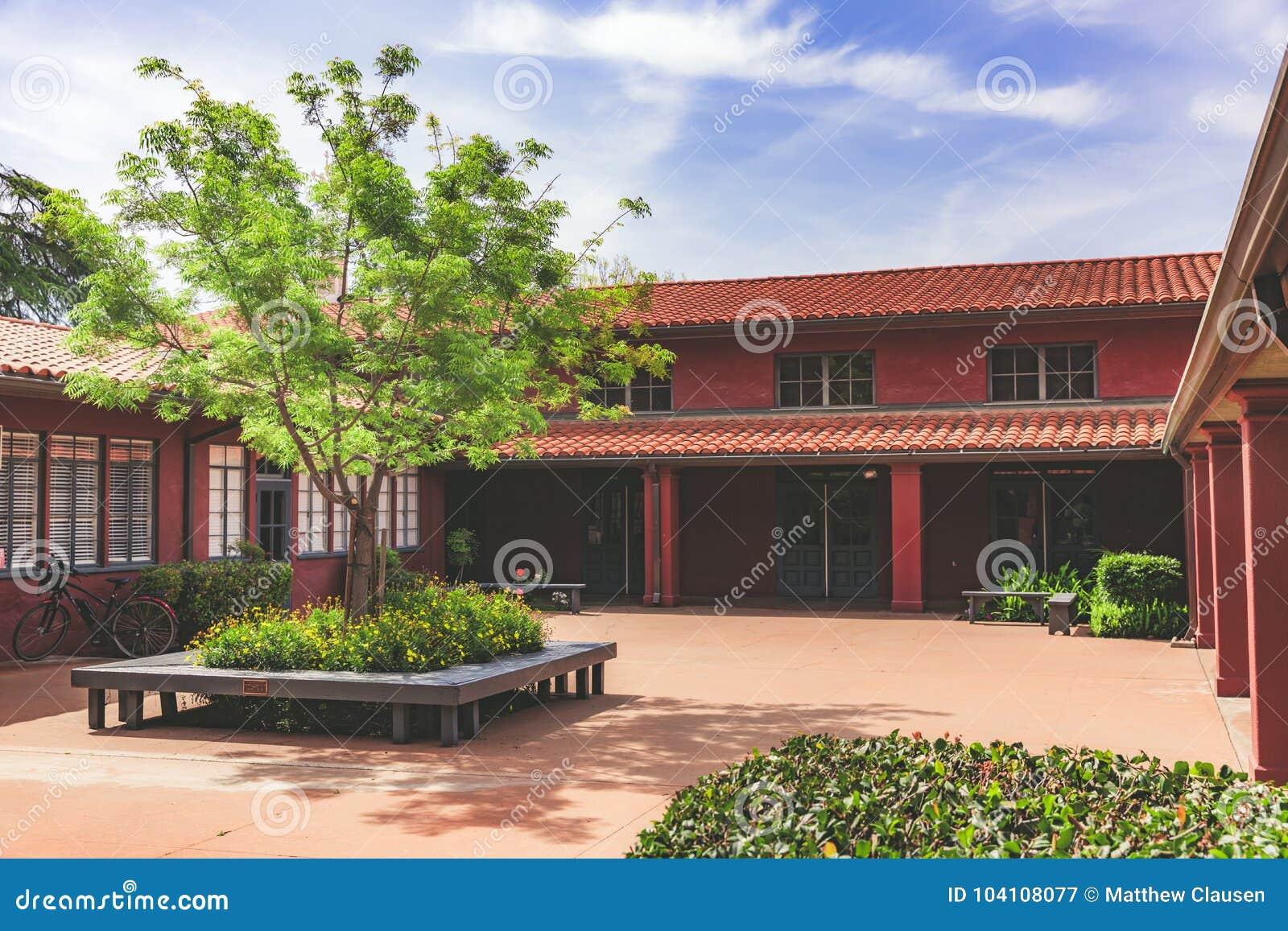 Czerwony podwórze z drzewem