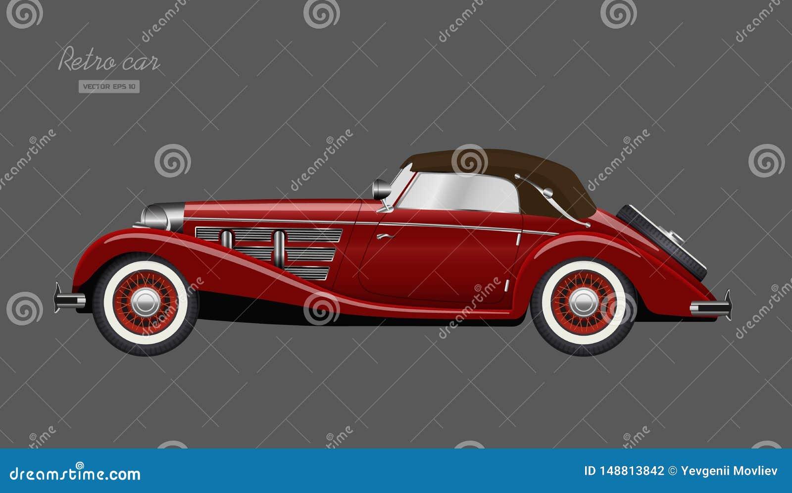 Czerwony retro samoch?d na szarym tle Rocznika kabriolet w realistycznym stylu Boczny widok 3D pojazd Szczeg??owy wizerunek