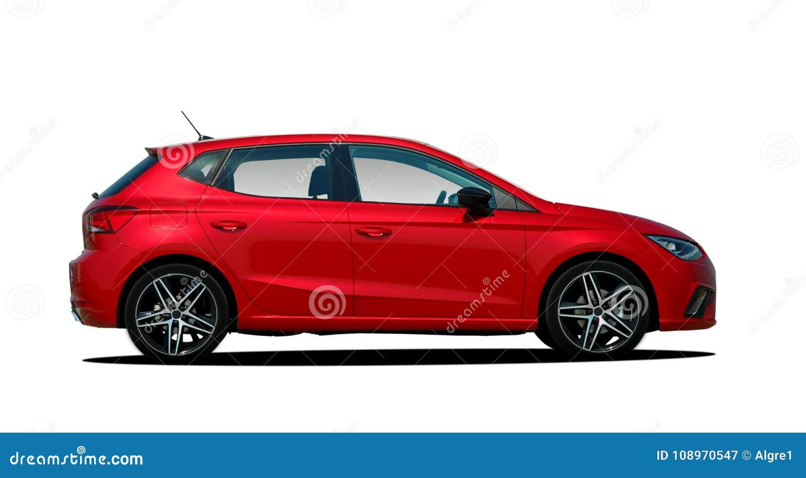 Poważnie Czerwony samochód osobowy obraz stock. Obraz złożonej z mały BS46