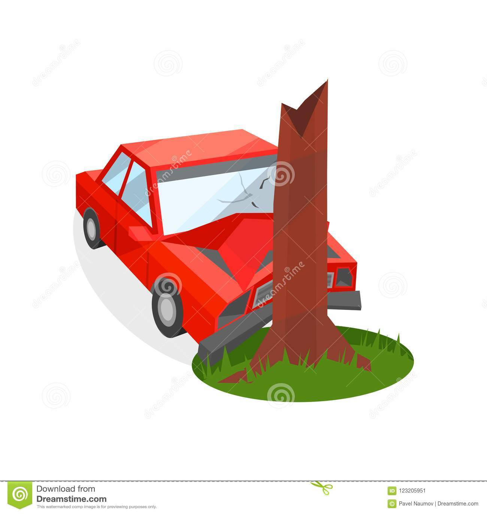 Czerwony samochód rozbijał w drzewnego bagażnika Uszkadzający samochód wypadek łamająca kierowcy ostrość blisko odbijającego bezp