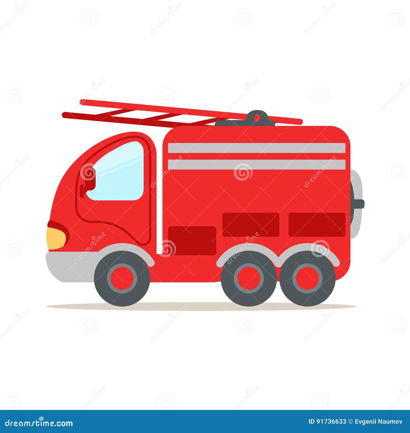 Czerwony samochód strażacki, pożarnicza przeciwawaryjna kolorowa kreskówka wektoru ilustracja