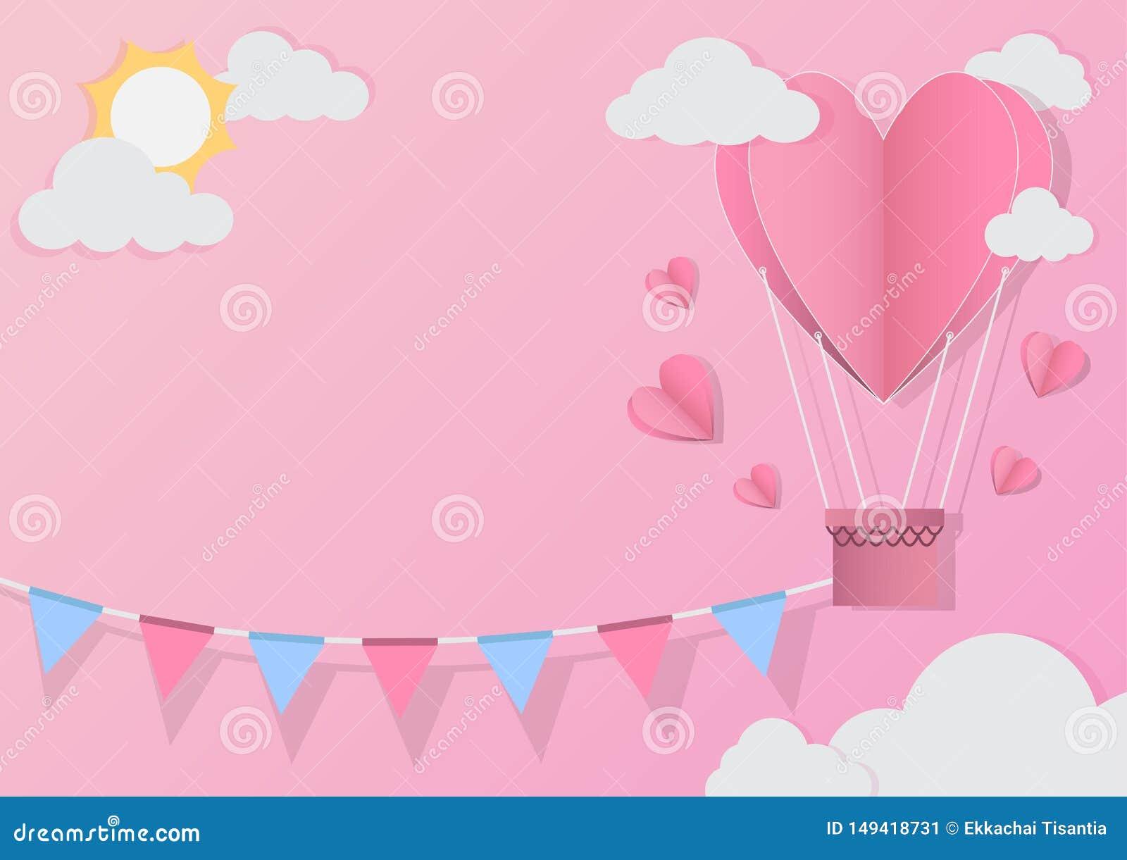 Czerwony serce balon na abstrakcjonistycznym tle Mi?o?ci zaproszenia karta papieru ci?cia styl r?wnie? zwr?ci? corel ilustracji w