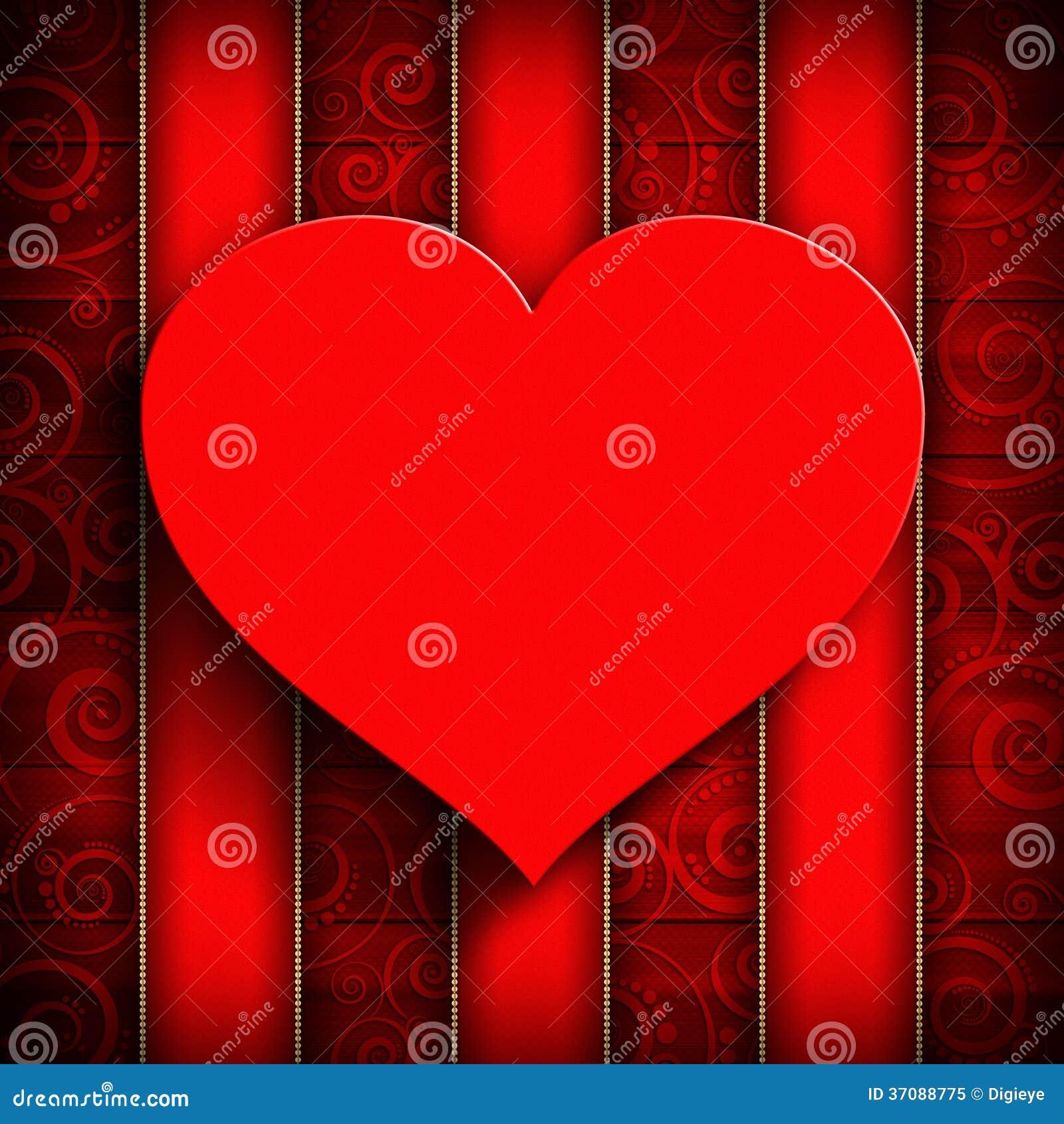 Download Czerwony Serce Na Wzorzystym Tle Ilustracji - Ilustracja złożonej z tło, wyznaczający: 37088775