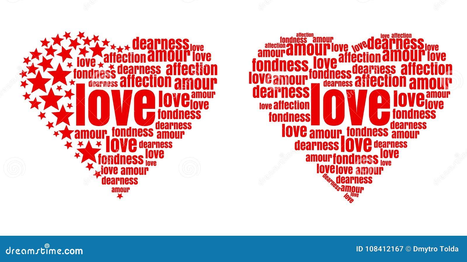 Czerwony serce robić up słowa i gwiazdy
