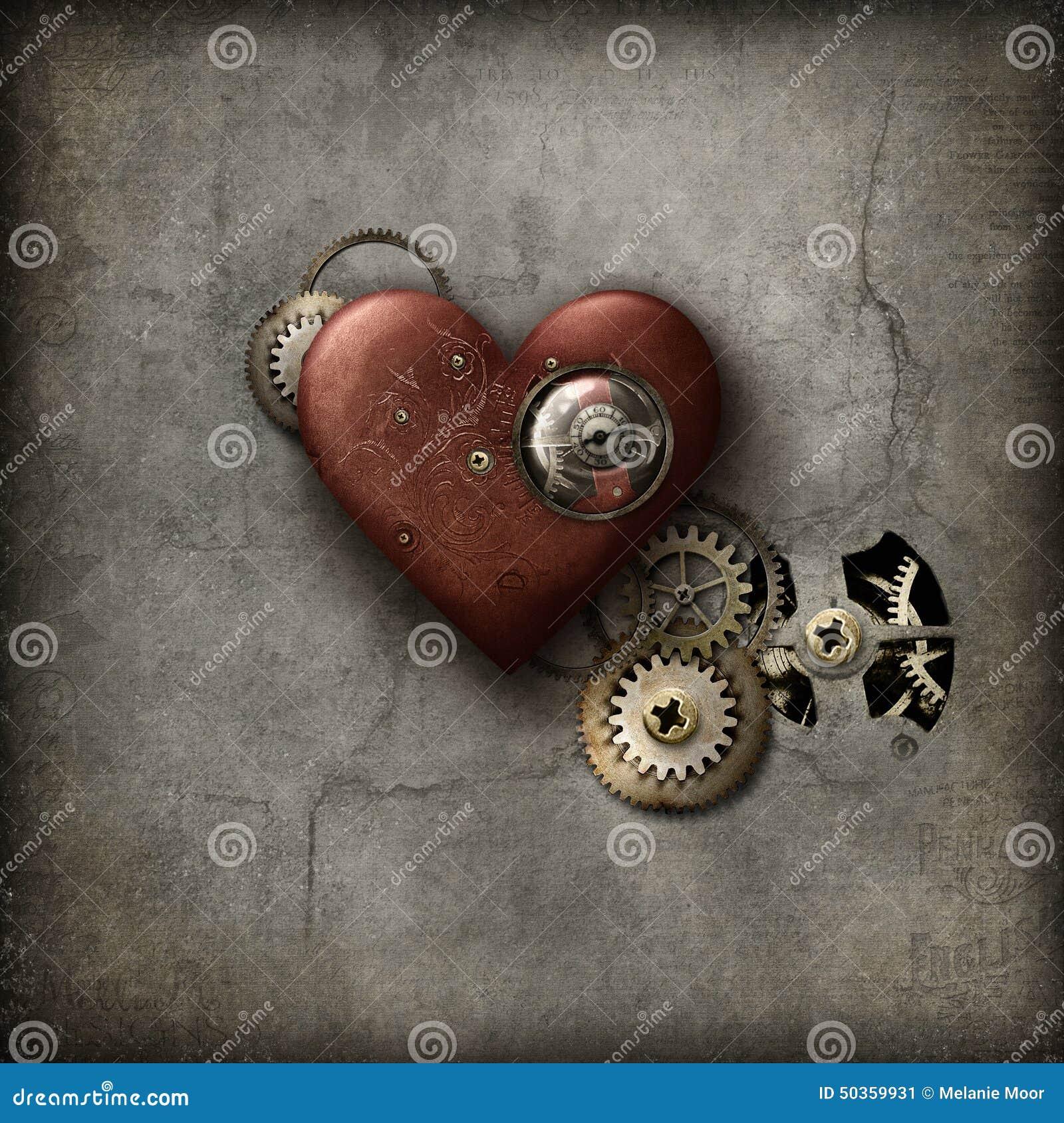 Czerwony Steampunk serce