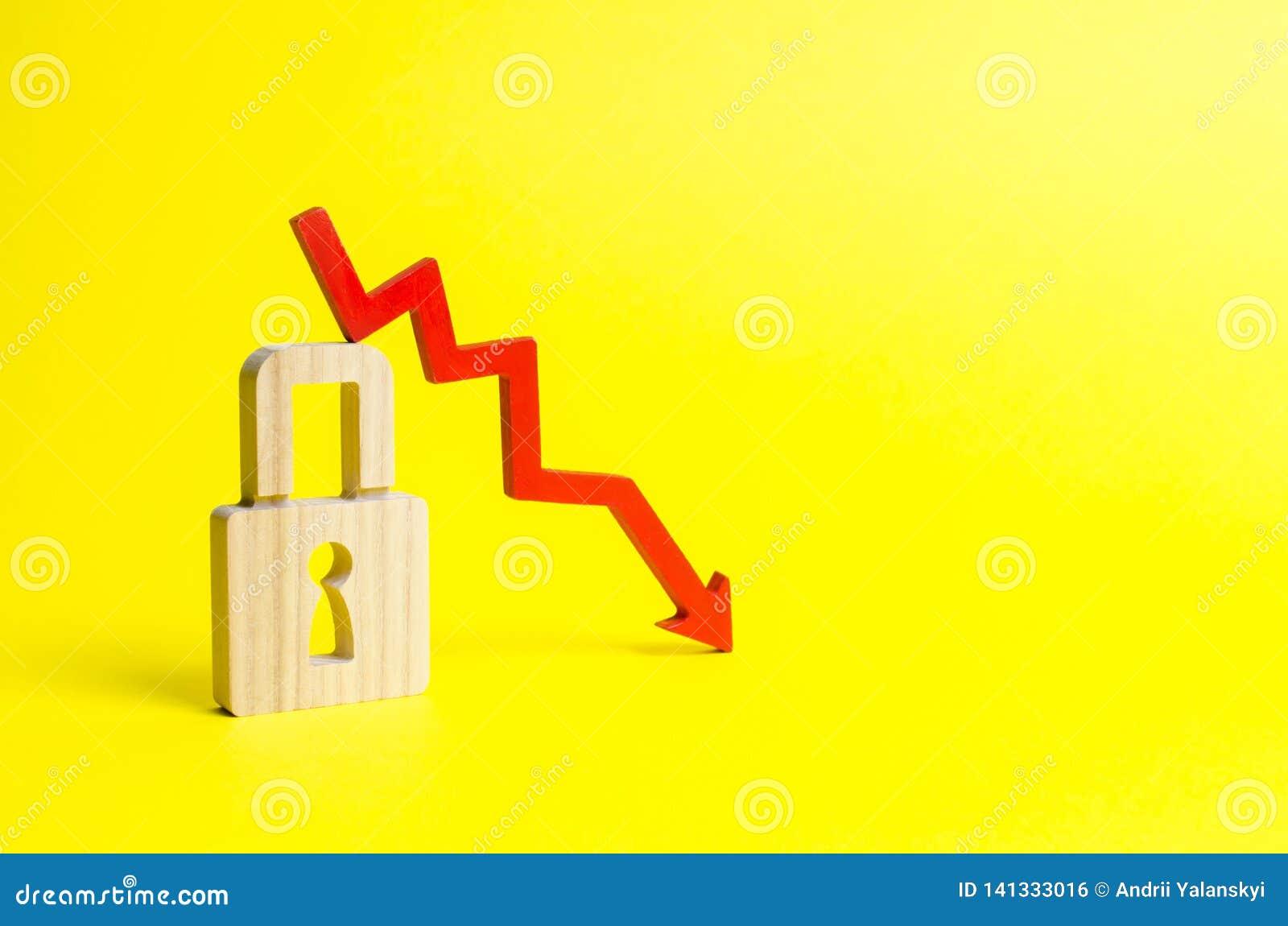 Czerwony strzała puszek, kłódka na żółtym tle i Konceptualny spadek w ilości i poziomie ochrona i konserwacja ryzyko
