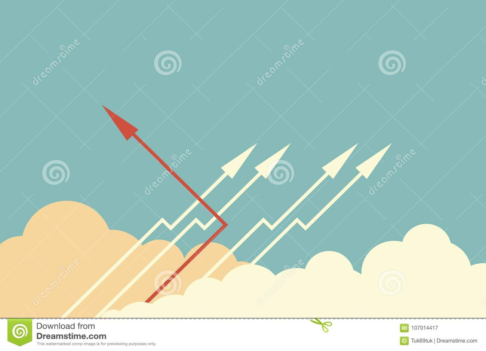 Czerwony strzałkowaty odmienianie kierunek, biel i ones Nowy pomysł, zmiana, trend, odwaga, kreatywnie rozwiązanie, biznes, innov