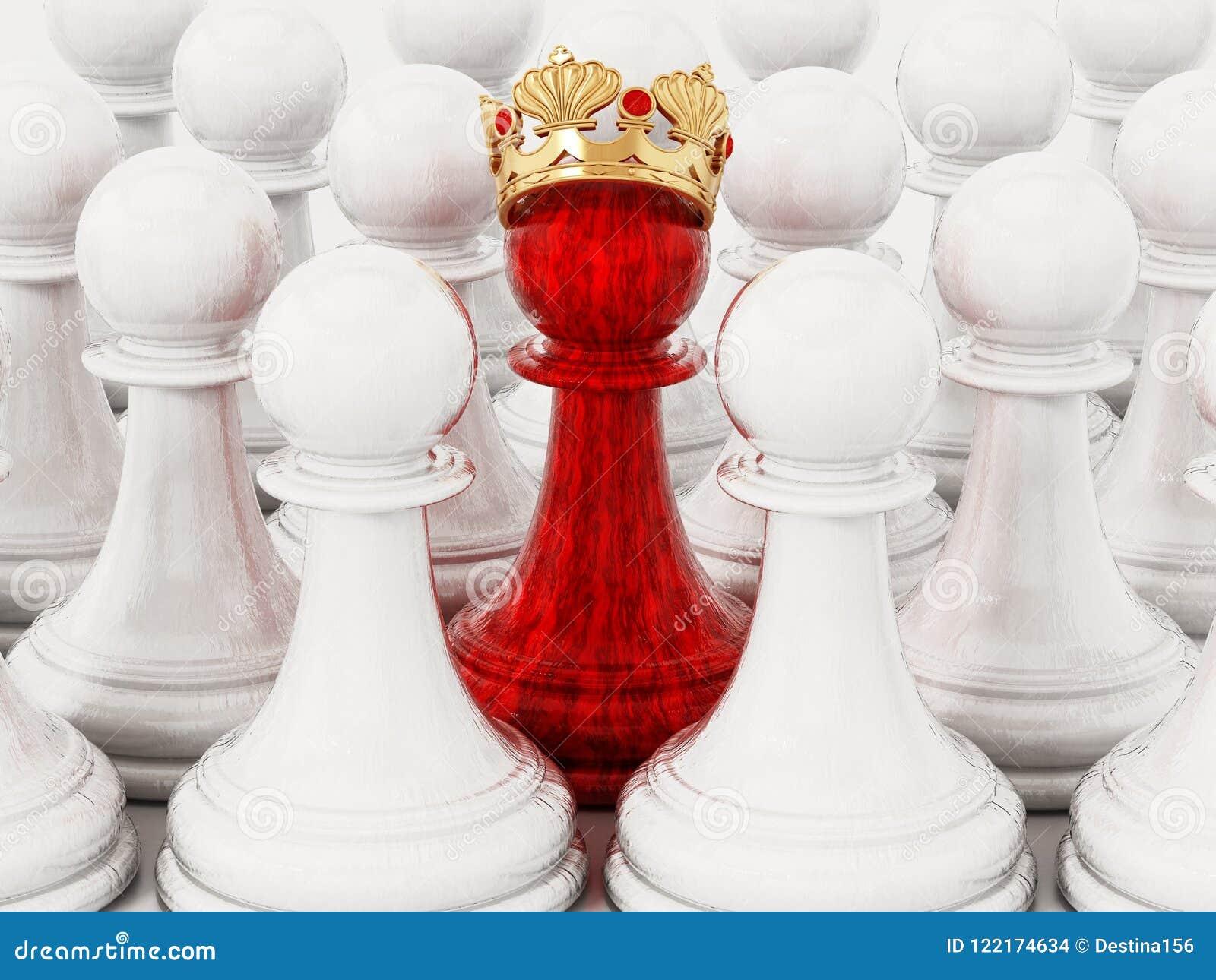 Czerwony szachowy pionek z złotą koroną stoi out wśród białych pionków ilustracja 3 d