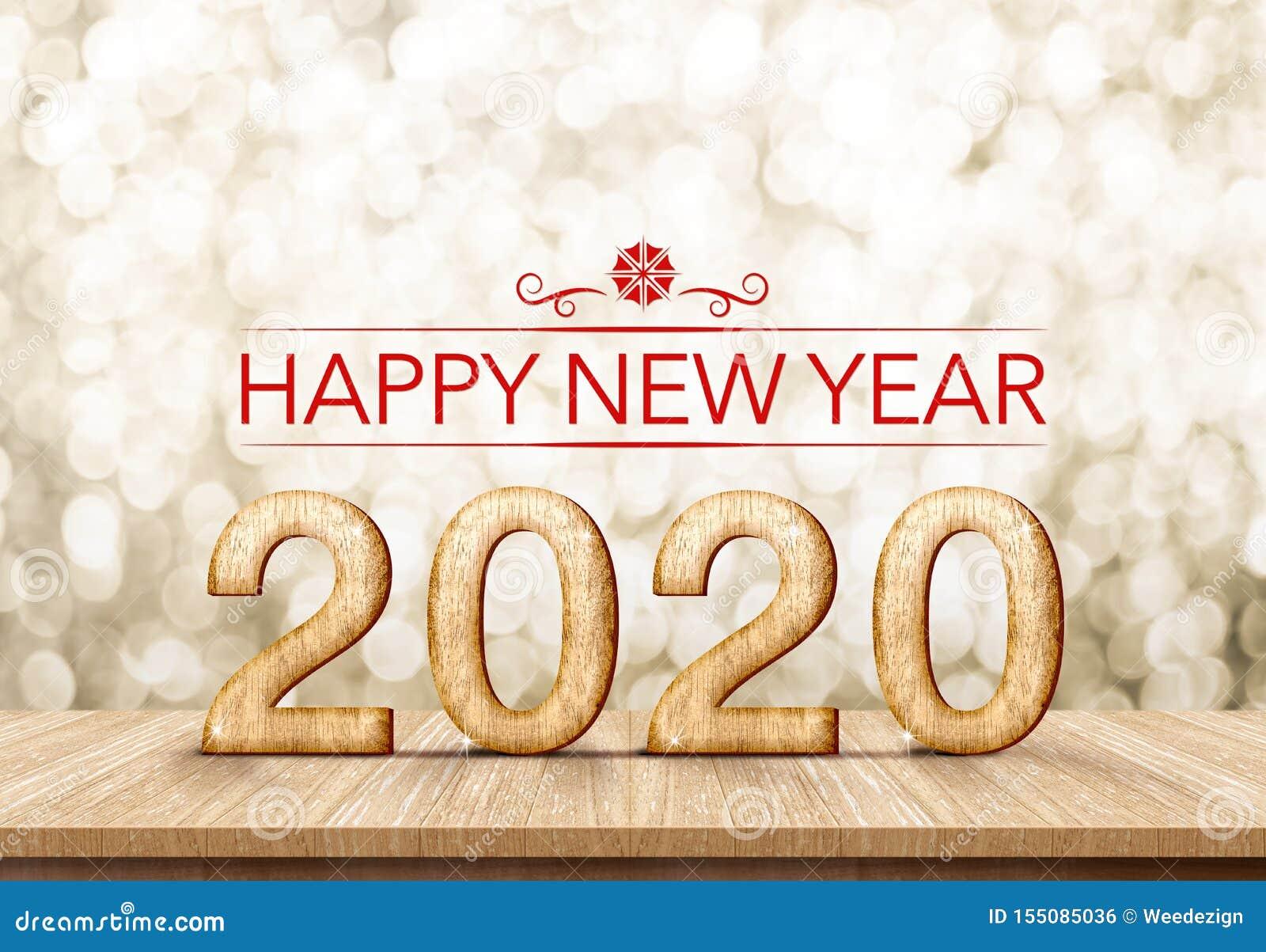 Czerwony szczęśliwy nowego roku 2020 3d rendering na bielu marmuru stole z iskrzastą złocistą bokeh ścianą, sztandar dla pokazu l