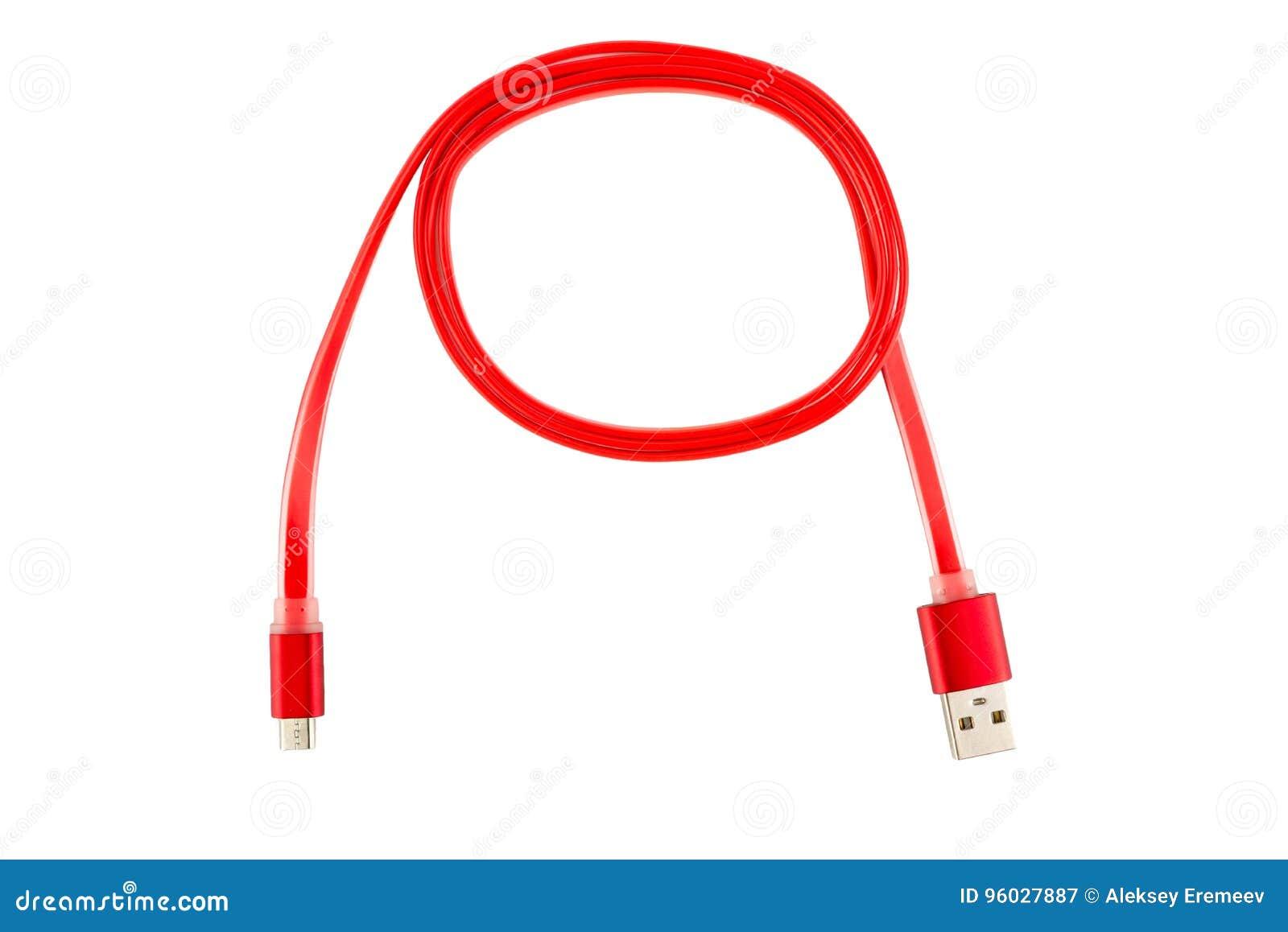 Czerwony Usb kabel przekręcał w pierścionek na białym odosobnionym tle, Horyzontalna rama