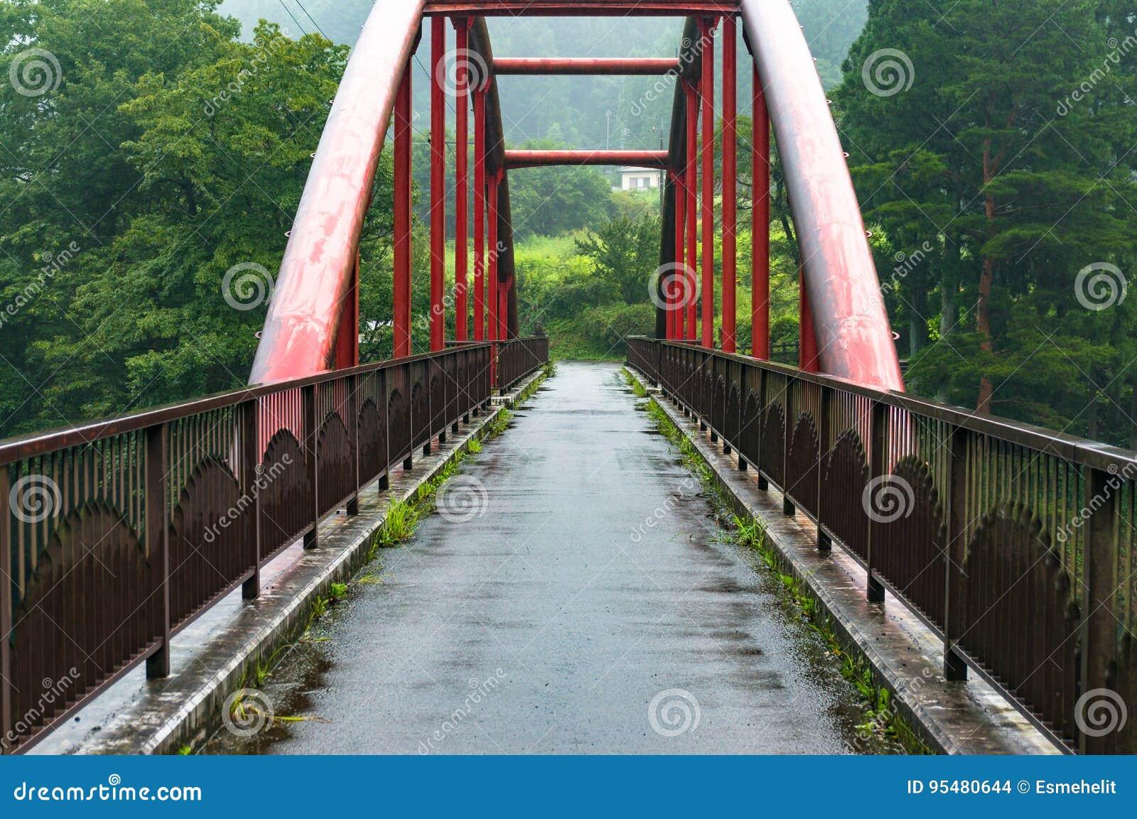 Czerwony zawieszenie most na deszczowym dniu