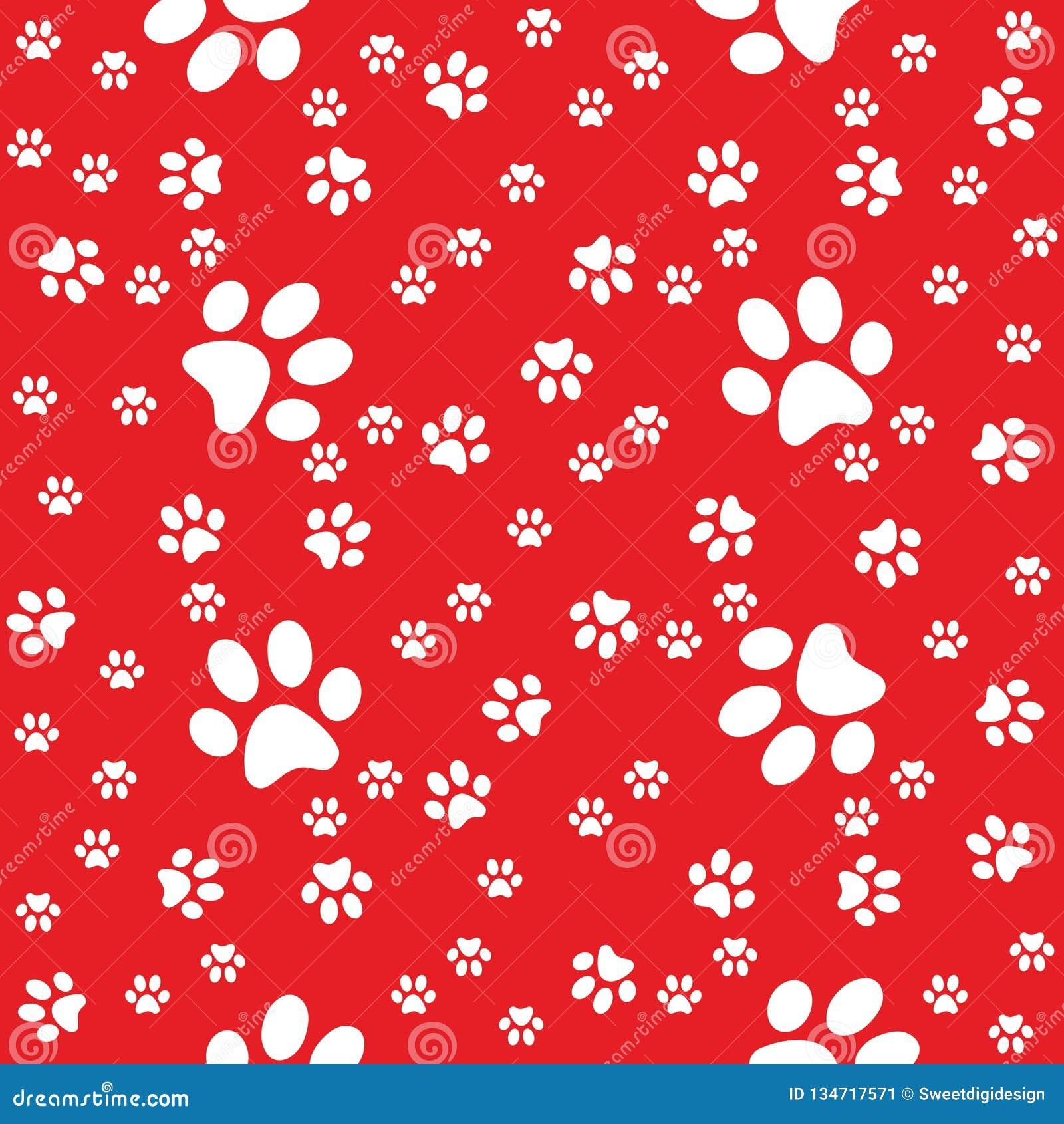 Czerwonych łap bezszwowy tło, łapa wzór