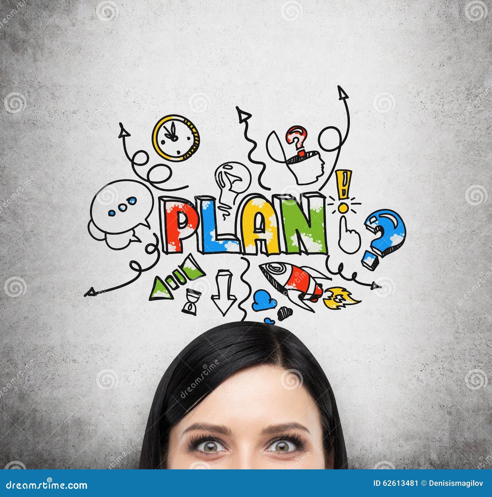 Czoło brunetki dama która marzy o planie biznesowym Pojęcie rozwój biznesu Colourful nakreślenie rysuje