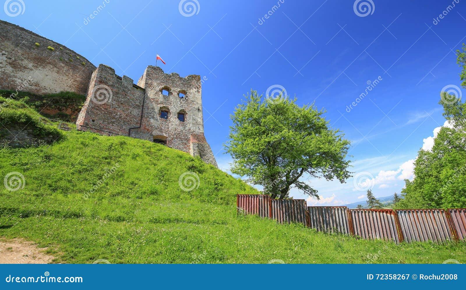 Czorsztyn城堡的风景看法在波兰/Pieniny山的
