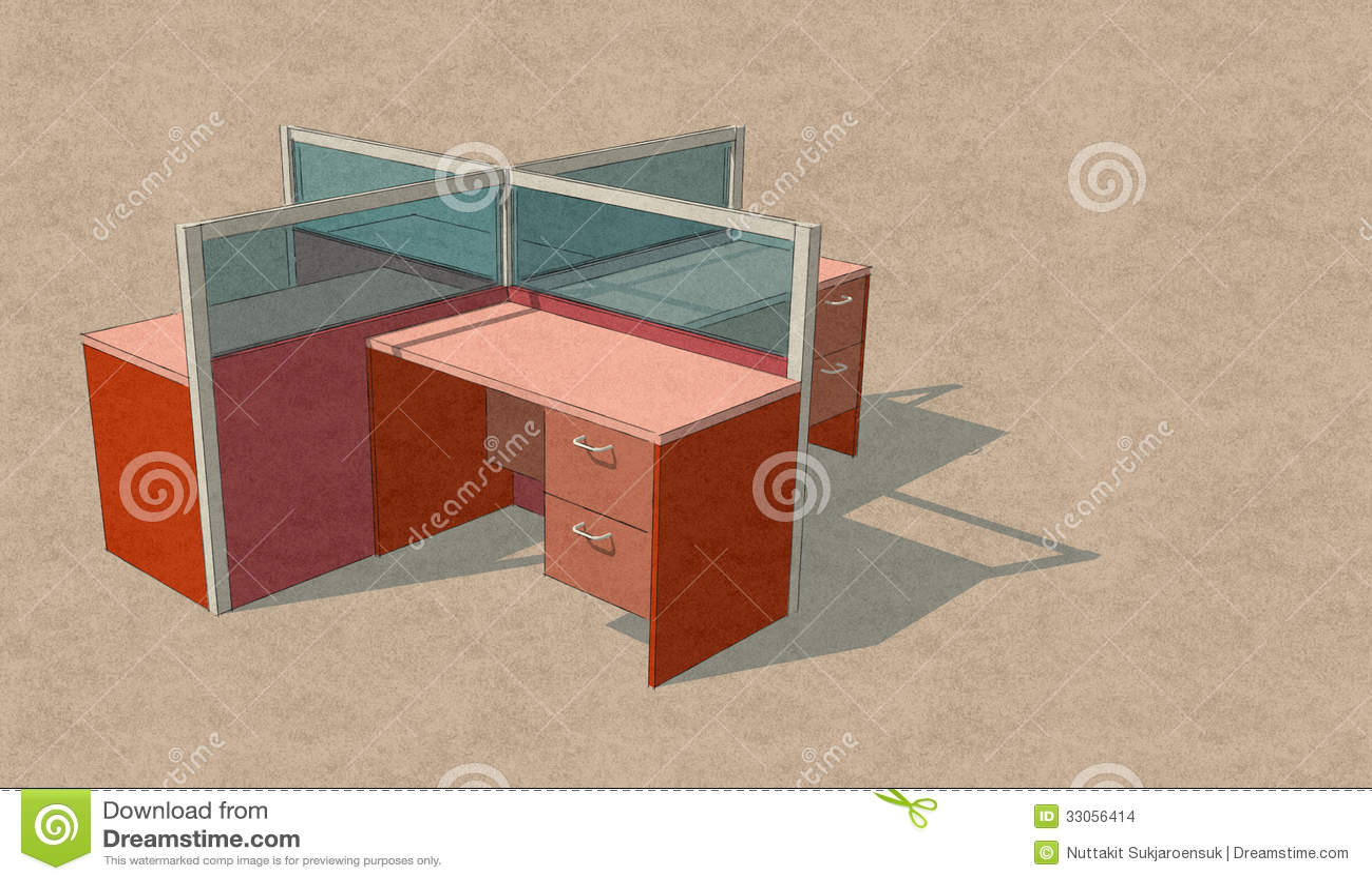 Cztery biur nakreślenia Stołowy Ustalony projekt