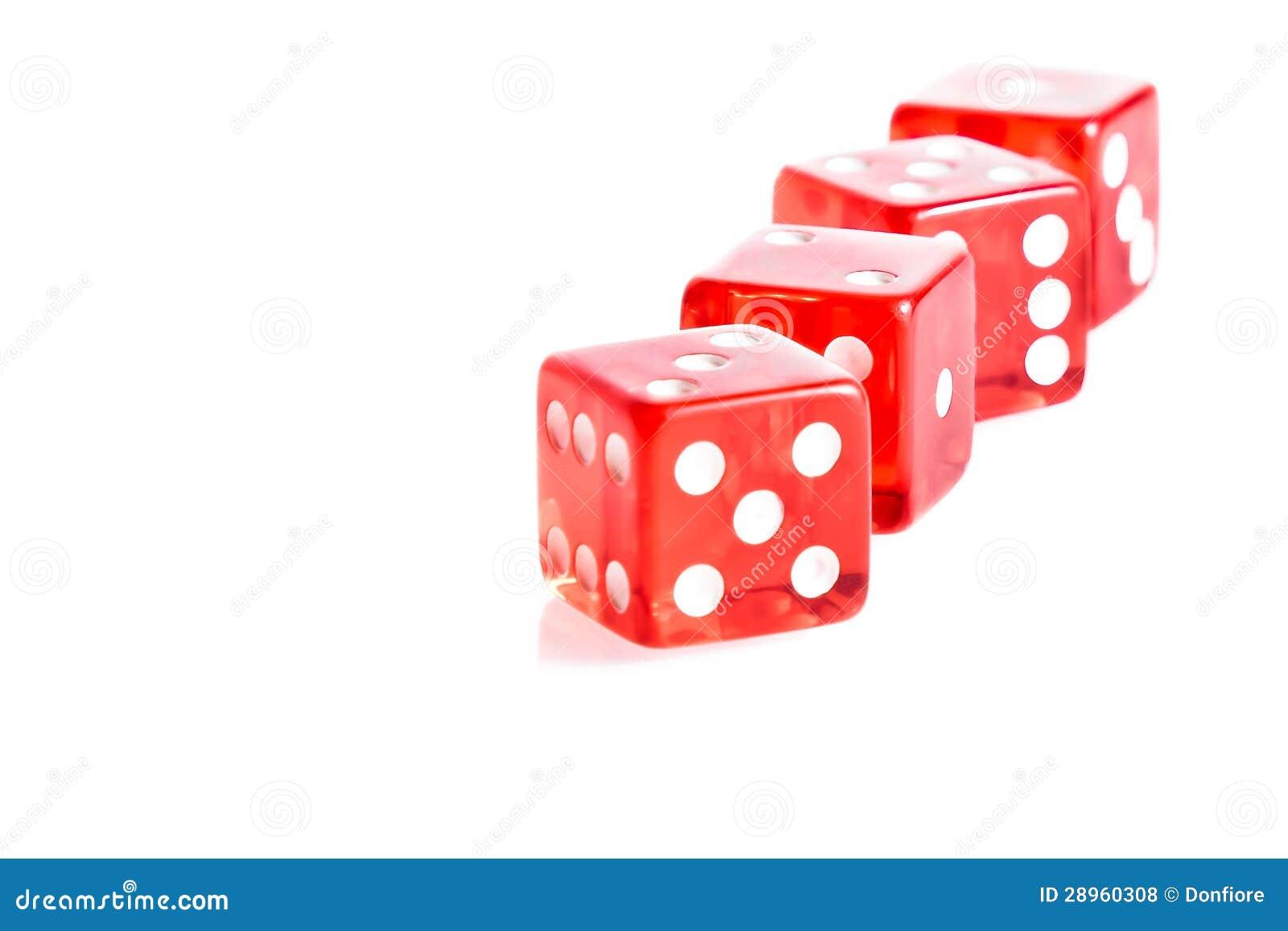 Cztery czerwonego kostka do gry z rzędu