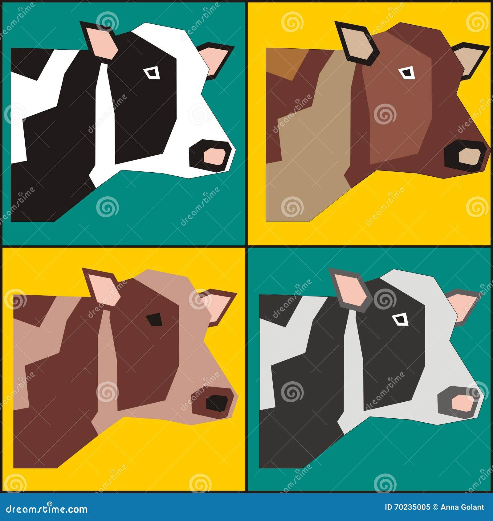 Cztery krów plakatowy obraz w wystrzał sztuki stylu wektorze