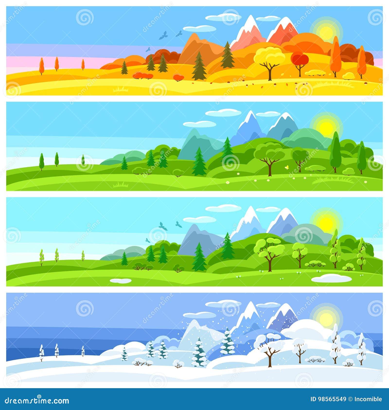 Cztery krajobrazowego sezonu Sztandary z drzewami, górami i wzgórzami w zimie, wiosna, lato, jesień