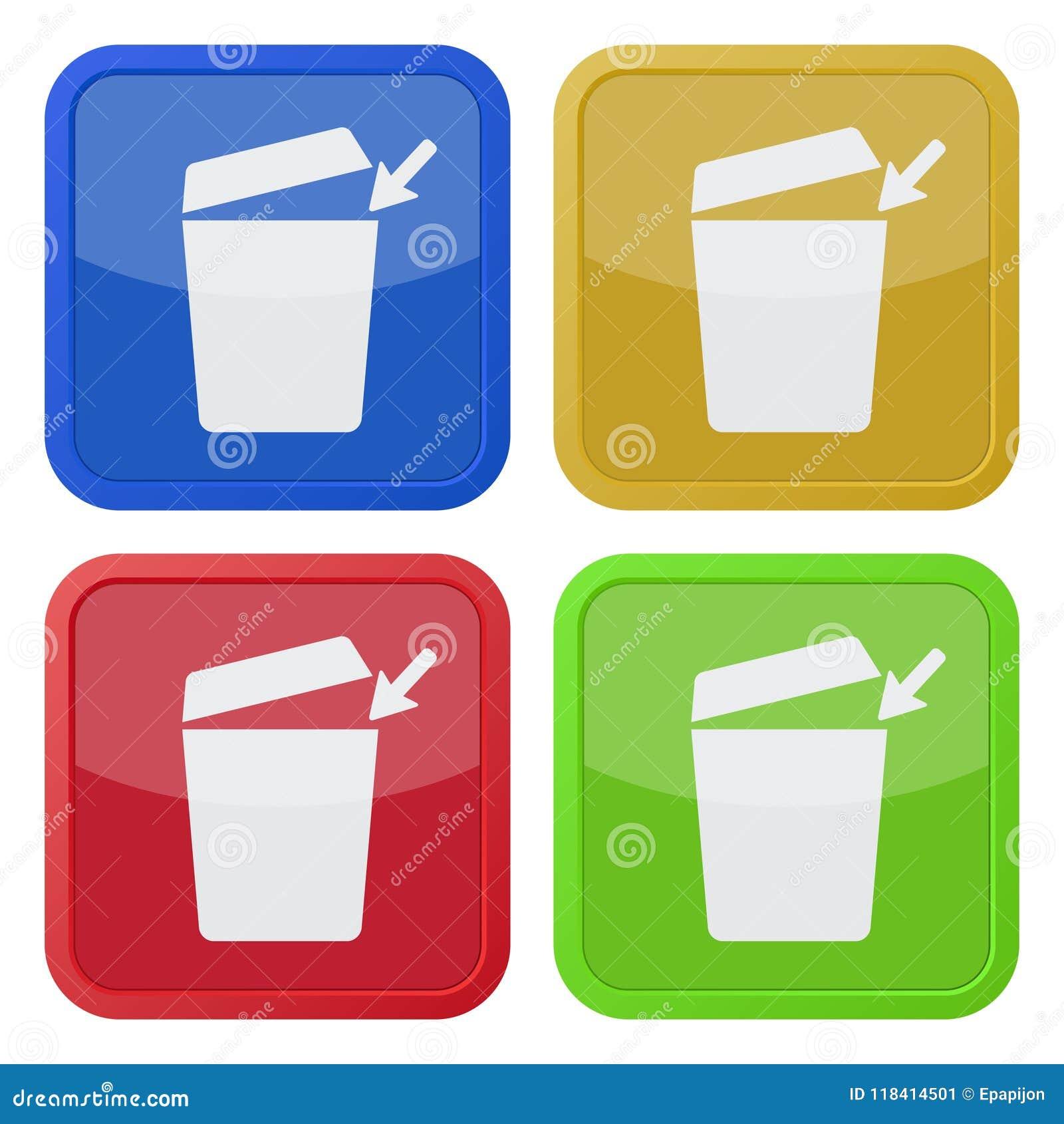 Cztery kwadratowej kolor ikony, trashcan z otwartym deklem