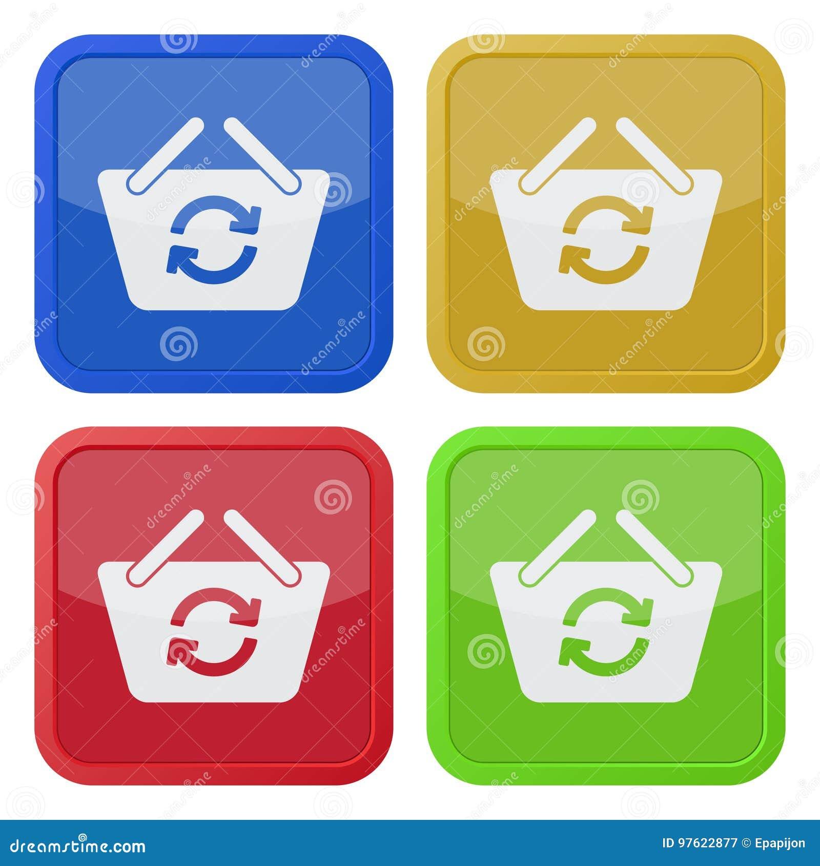Cztery kwadratowej kolor ikony - zakupy kosz odświeża