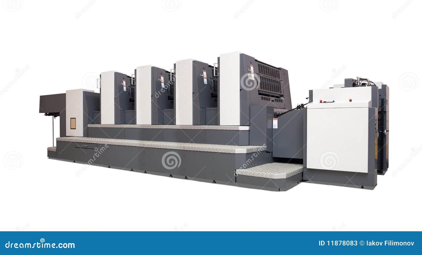 Cztery nad sekcja drukowanym biel maszynowa odsadzka