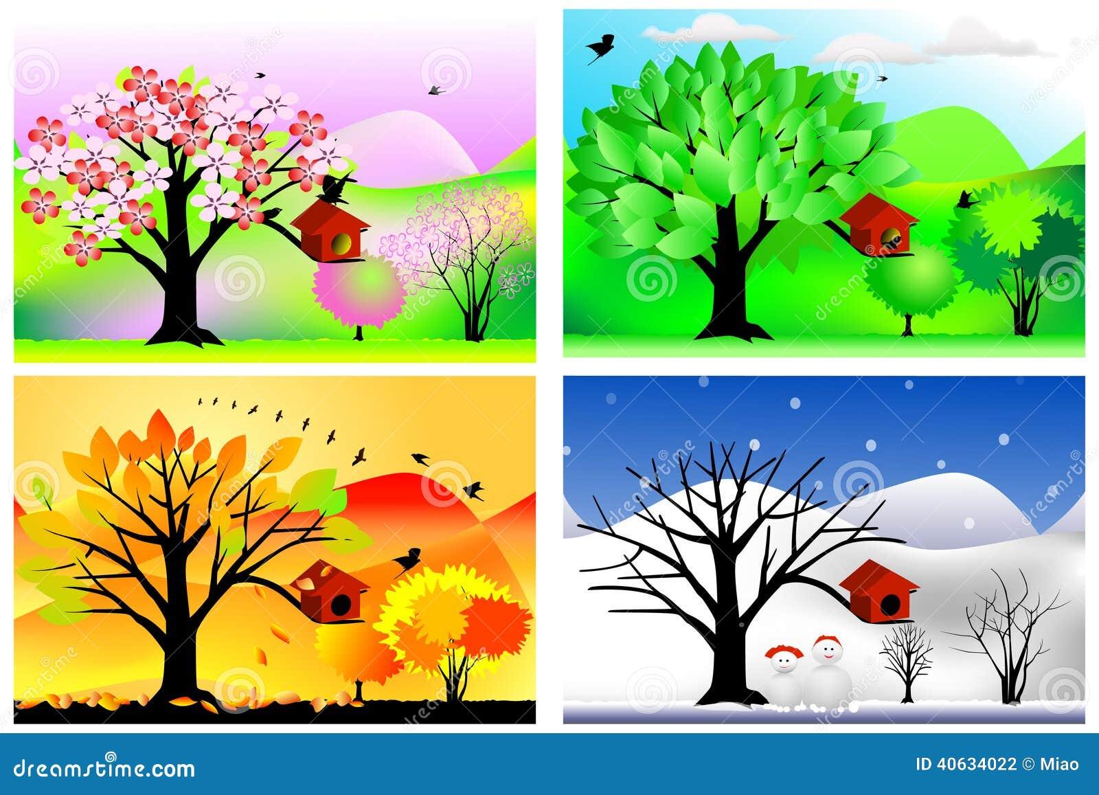 Cztery pory roku ilustracja wektor. Ilustracja złożonej z kardamon ...