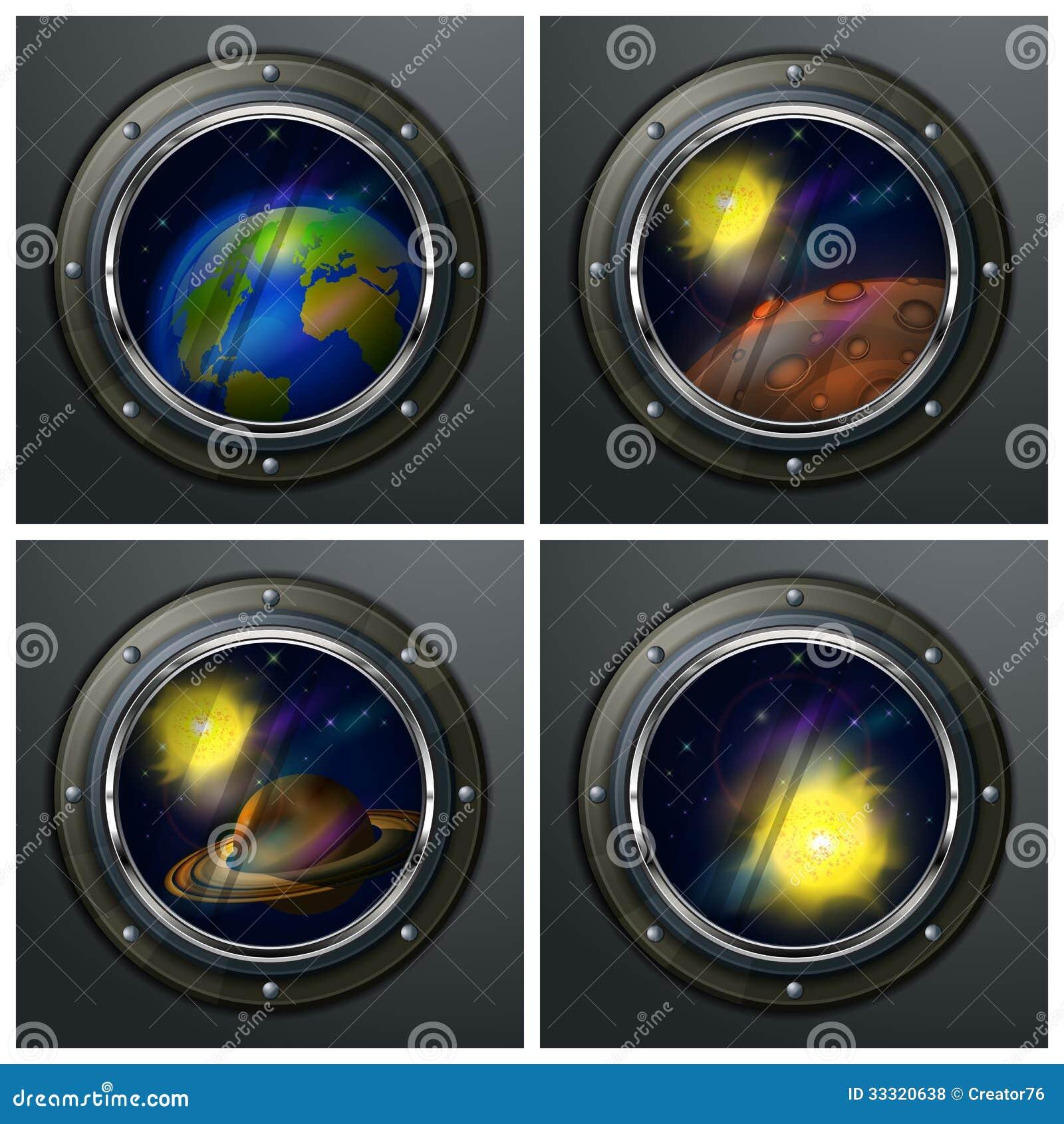 Cztery round portholes