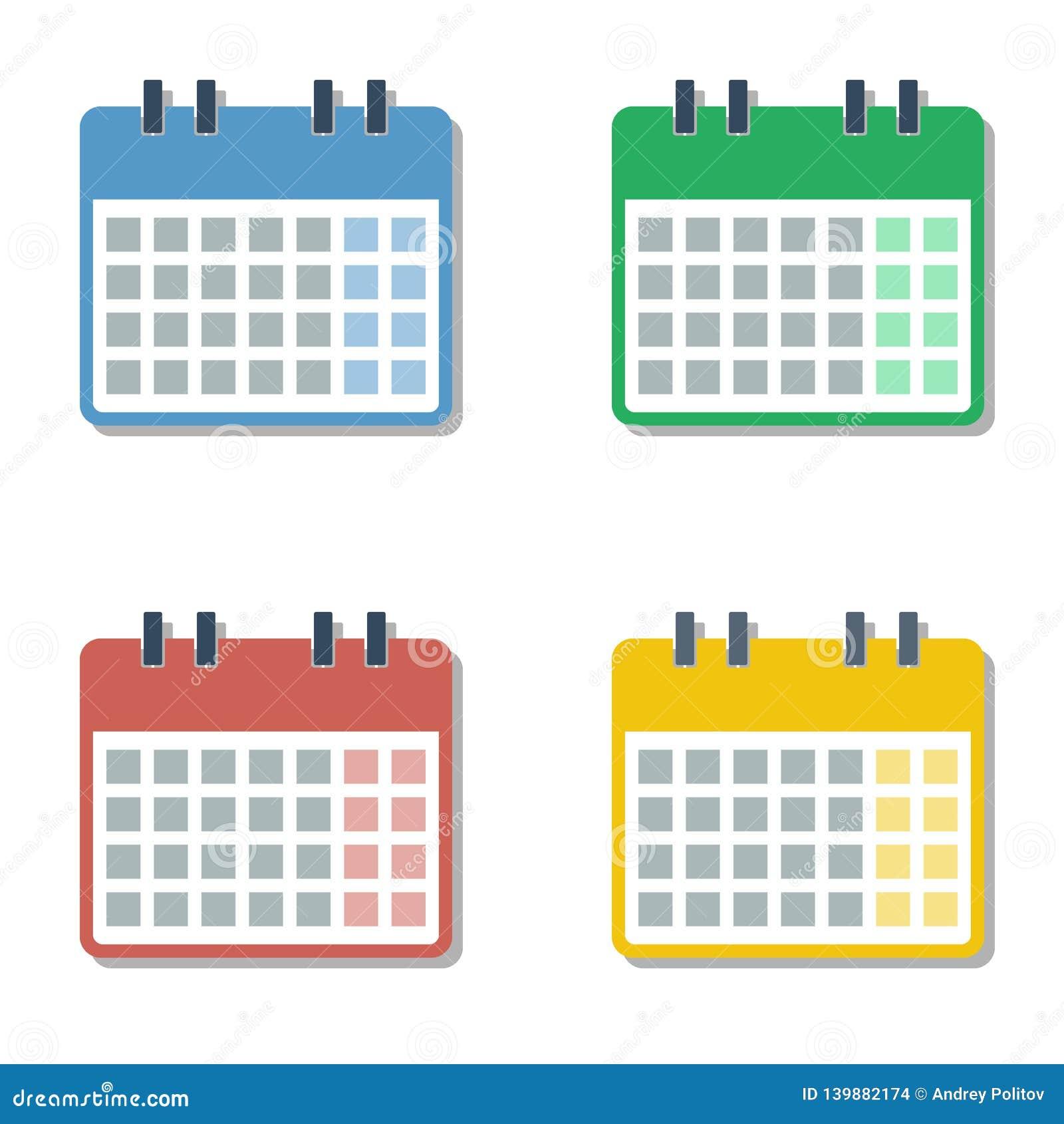 Cztery sezonu różnego koloru folowali miesiąc kalendarzowe siatki ustawiać