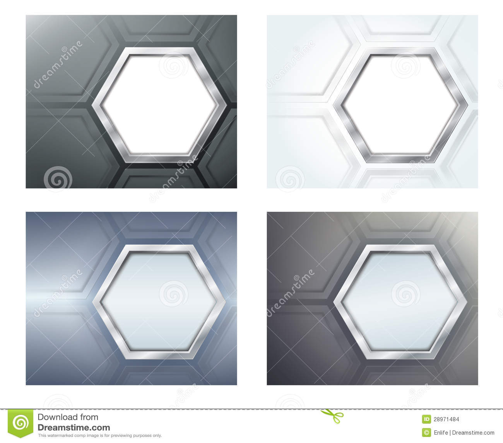 Cztery sztandaru z wielobokami