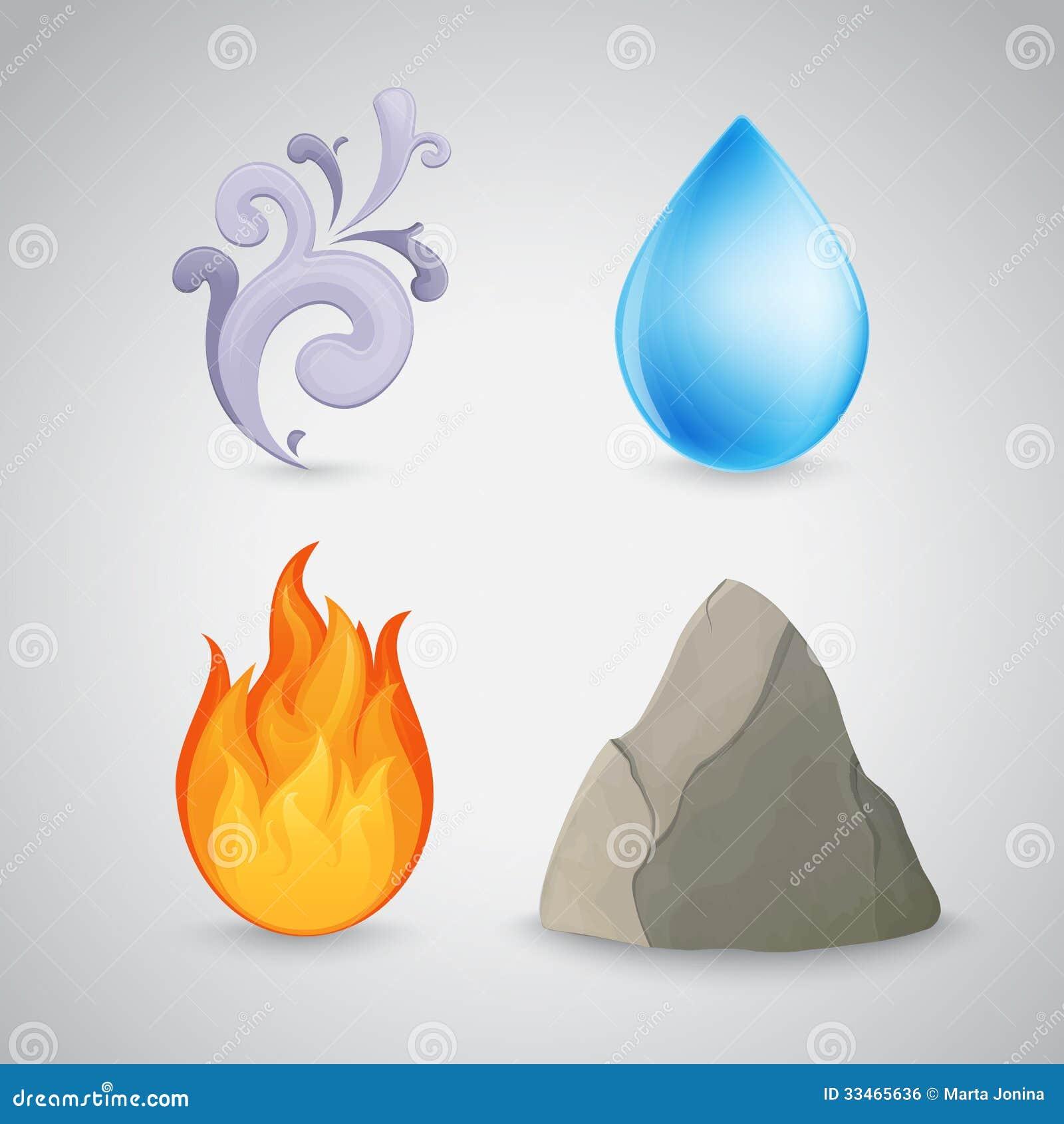 Cztery ziemia, powietrze, ogień i woda element -,