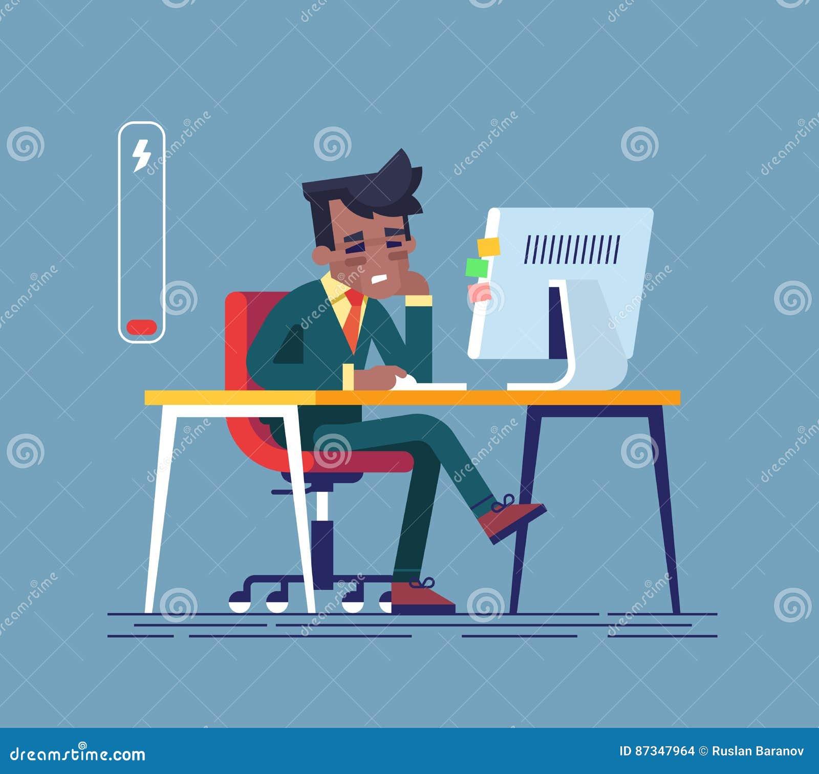 Czuć wyczerpuję Zmęczony amerykanina afrykańskiego pochodzenia mężczyzna obsiadanie przy jego pracującym miejscem z komputerem w