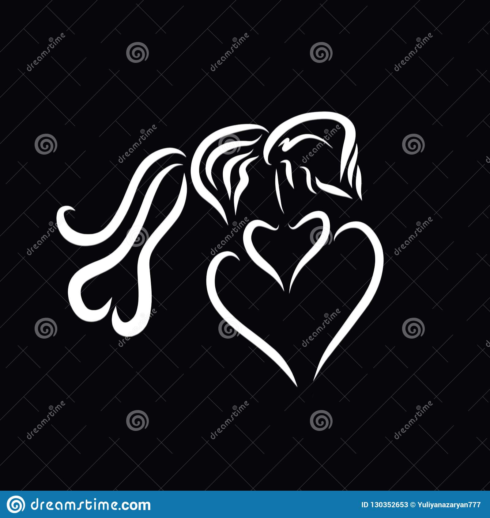 Czule buziak, kochająca para w formie serca na bl