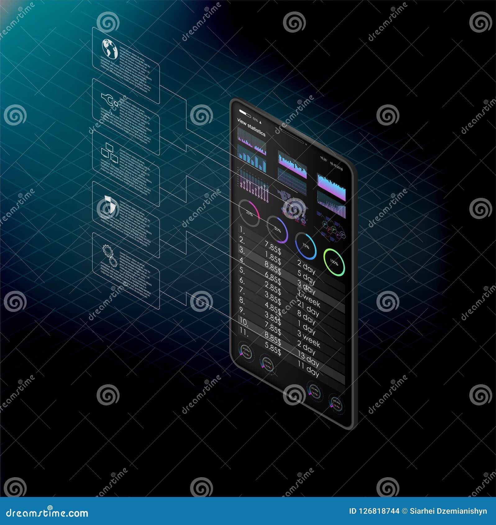 Czyści Mobilnego UI projekta pojęcie Modna Mobilna bankowość Cryptocurrency technologia Bitcoin wymiana Pieniężne analityka Handl