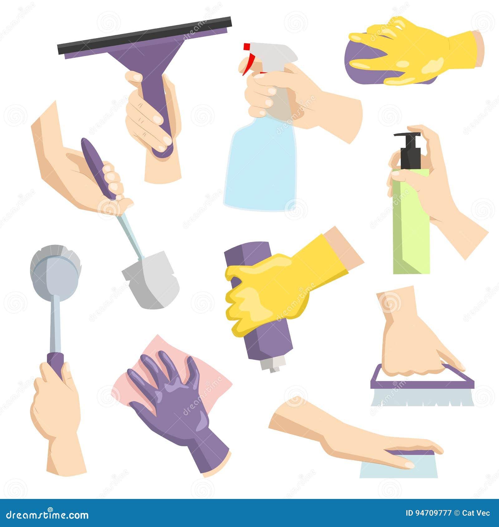 Czyści narzędzia w gospodyni domowej pakuje wręczają perfect dla sprzątania i domowa higieny kitchenware cleaning usługa