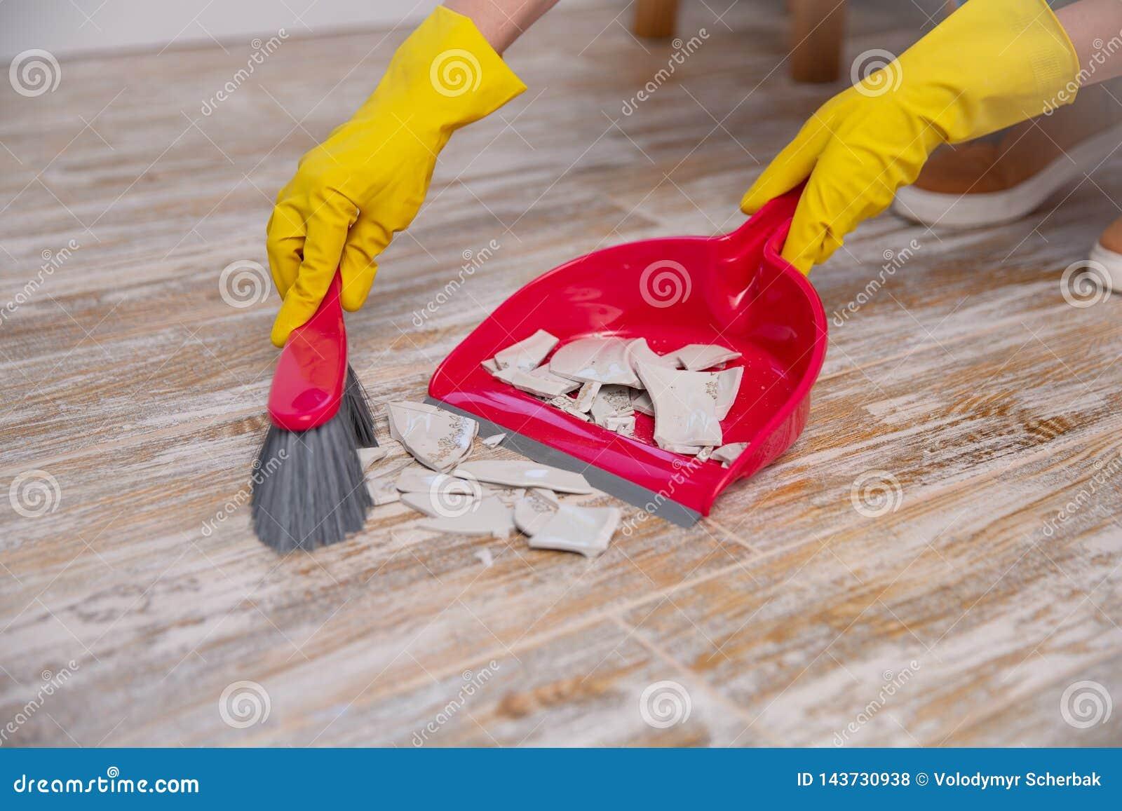 Czyści w górę łamanego talerza z miotłą i śmietniczką