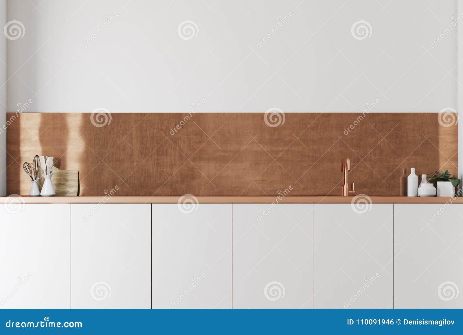 Czynnościowy biały i brown kuchni zakończenie up
