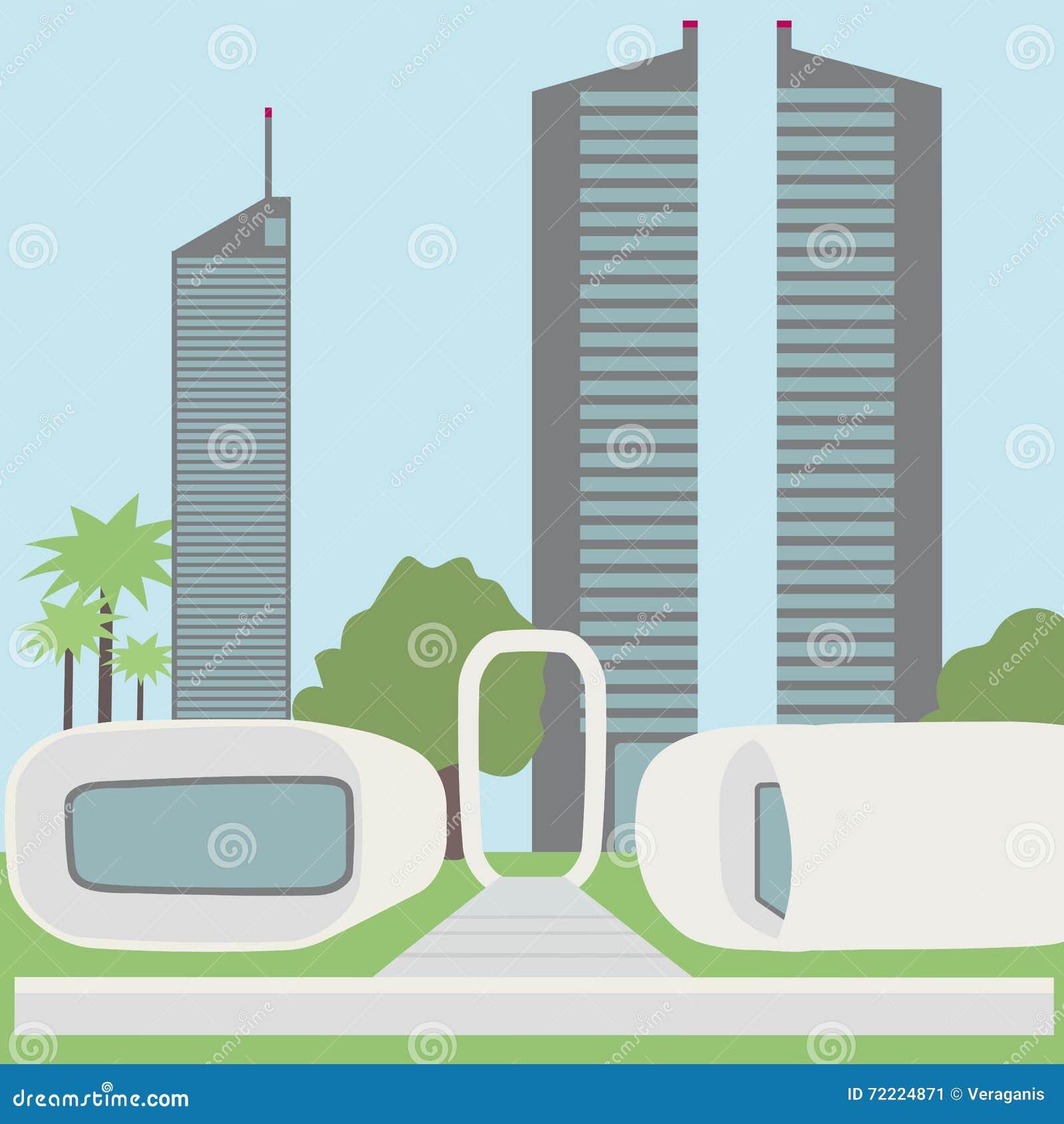 Czynnościowy 3D drukowany budynek biurowy futurystyczny krajobraz, widok nowożytny miasto