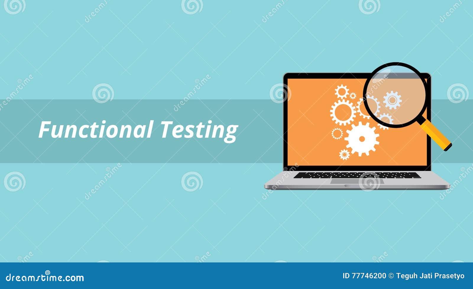 Czynnościowy testowanie z notatnikiem lub laptopem z powiększać - szkło i tekst